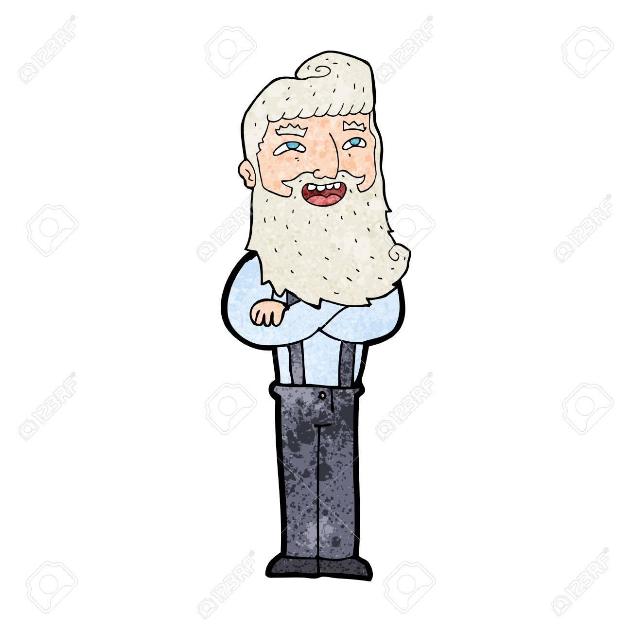 Vettoriale cartone animato uomo felice con la barba image