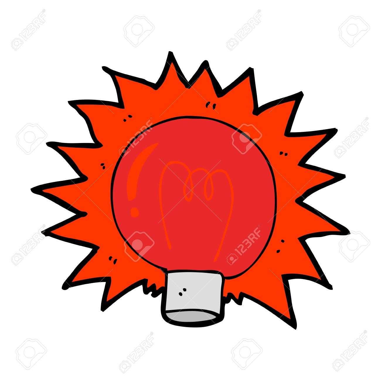 Cartoon Flashing Red Light Bulb Stock Vector   27829585