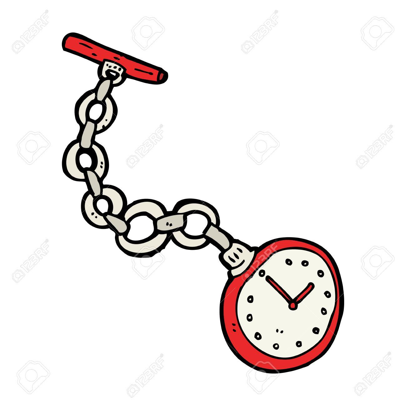 Foto de archivo , reloj de bolsillo de dibujos animados de edad