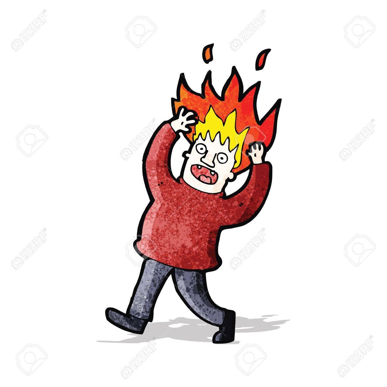 cartoon man with hair on fire - 32823574