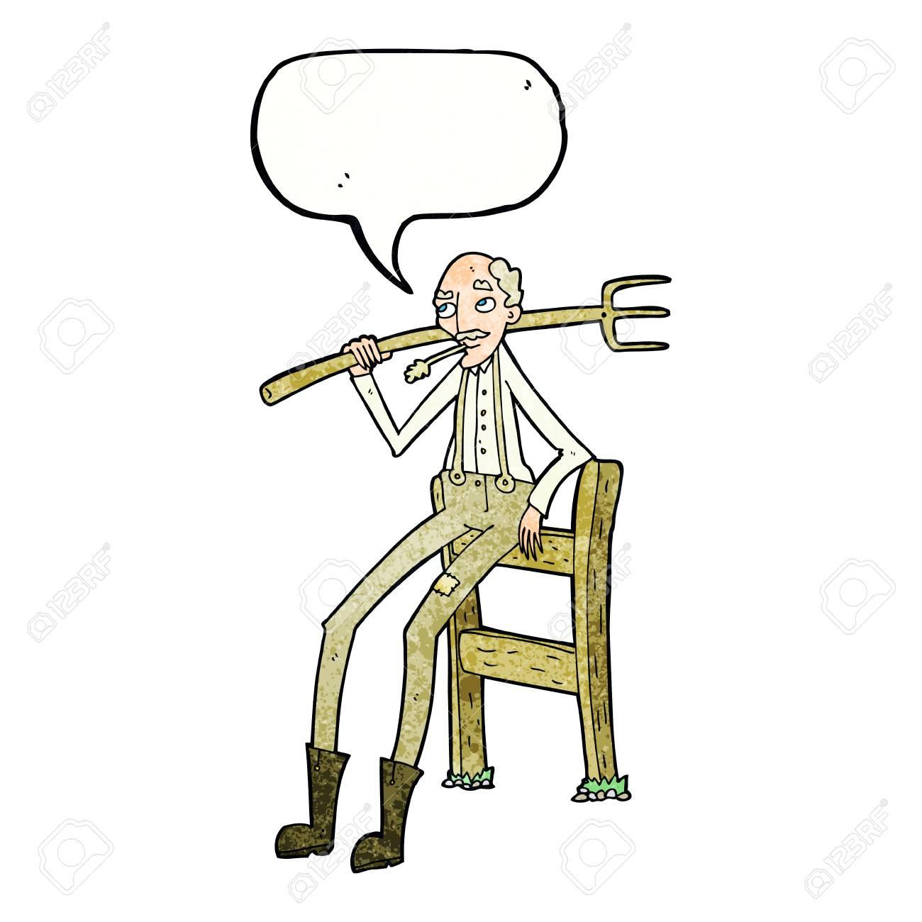 Cartoon Alten Bauern Stutzte Sich Auf Zaun Mit Sprechblase