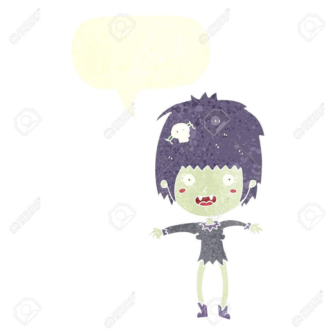 Vettoriale cartone animato vampiro ragazza con la nuvoletta