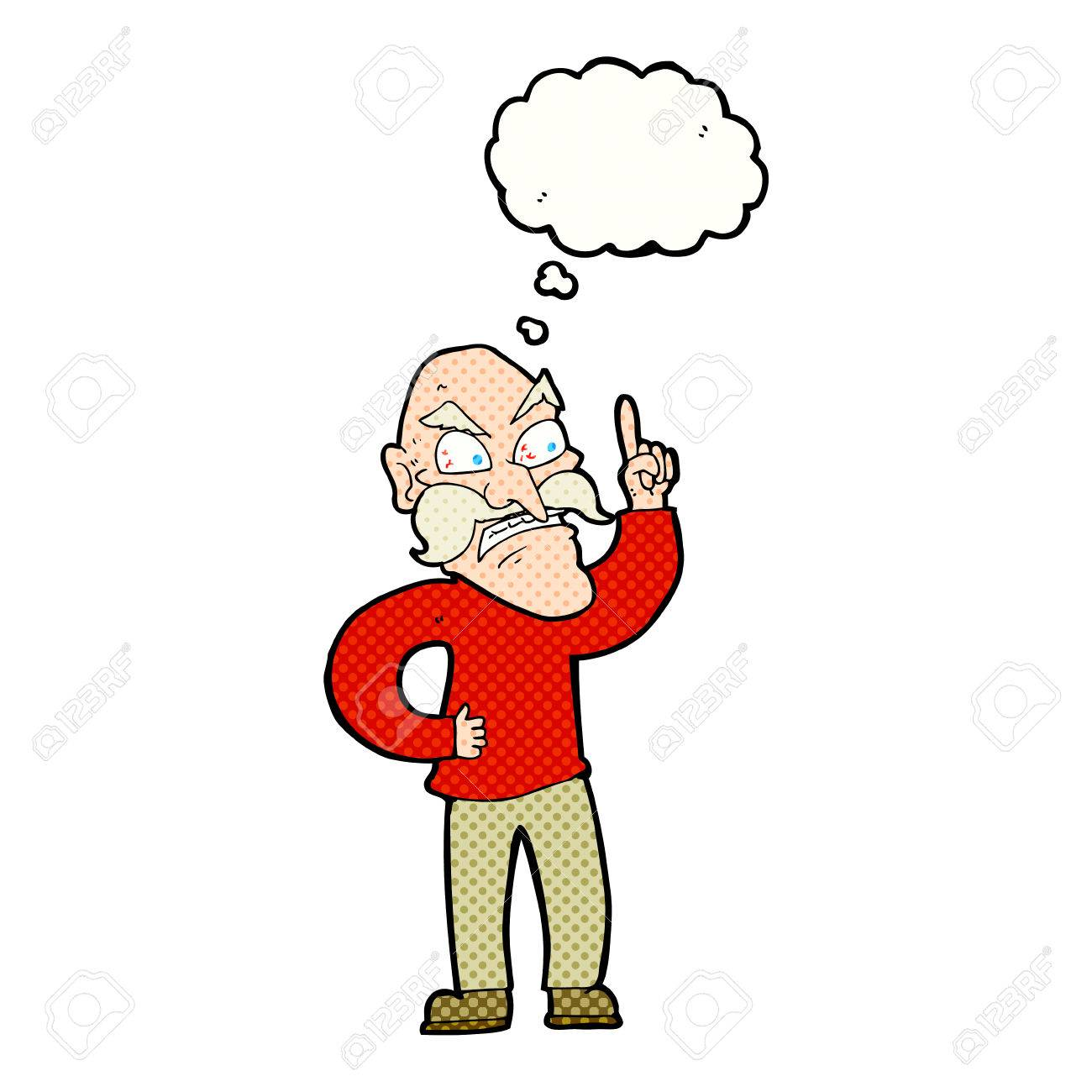 cartoon old man laying down rules with thought bubble royalty free