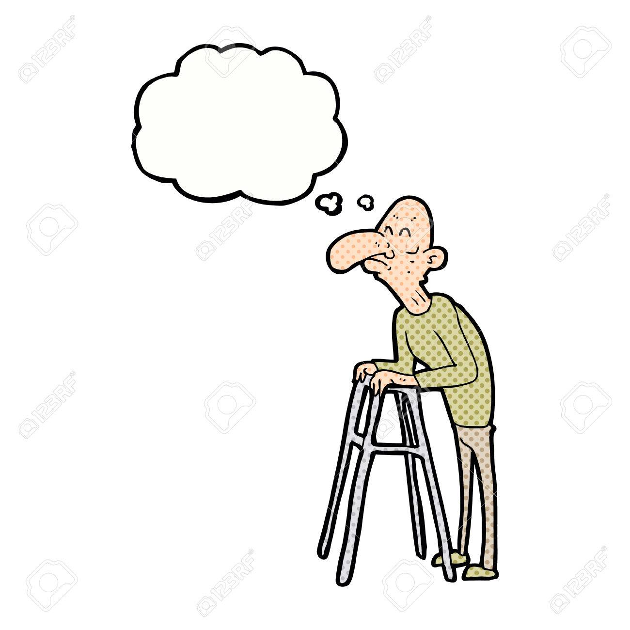 Cartoon Old Man With Walking Frame With Thought Bubble Royalty Free ...