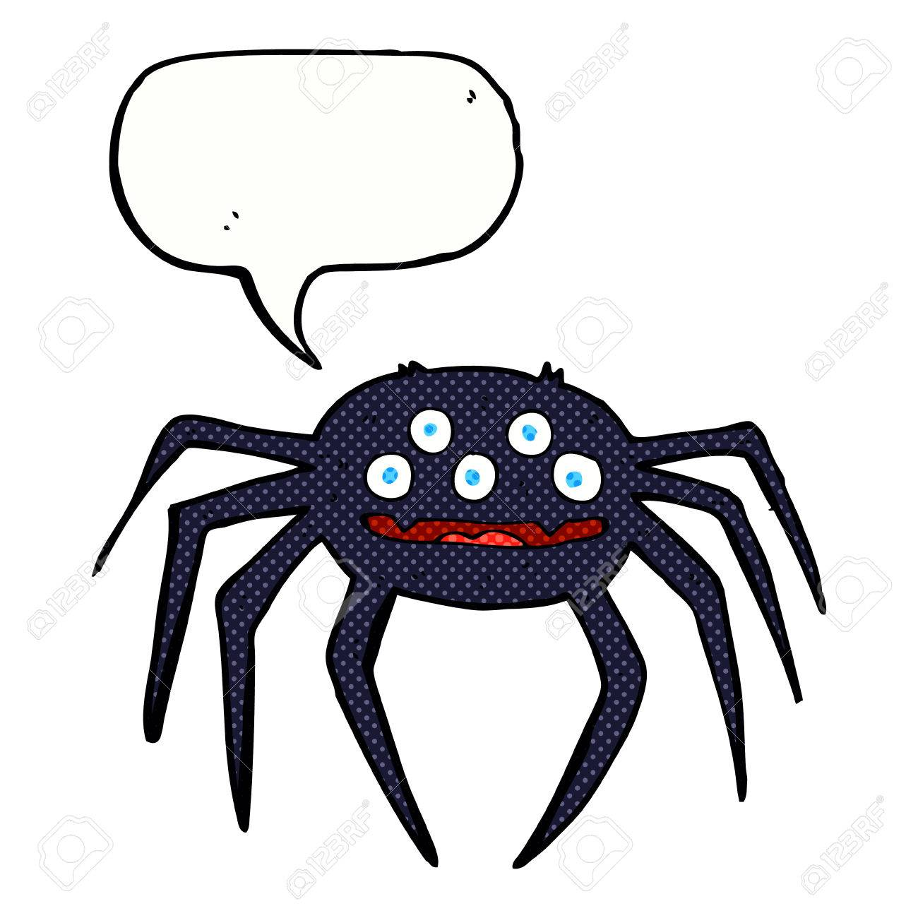 Cartoon Halloween Spider With Speech Bubble Royalty Free Cliparts ...