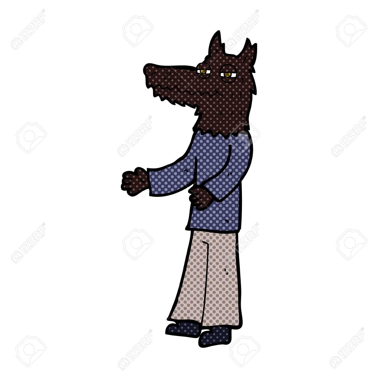 Vettoriale retrò stile fumetto cartone animato lupo uomo image