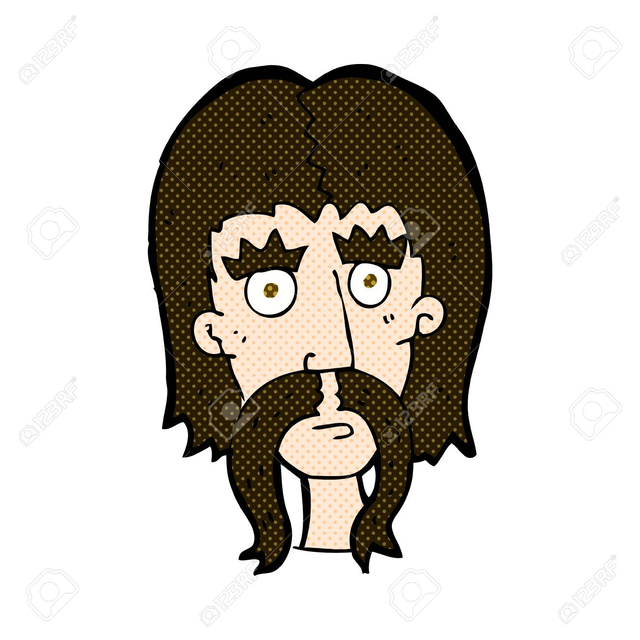 Vettoriale retrò stile fumetto cartone animato uomo con lunghi