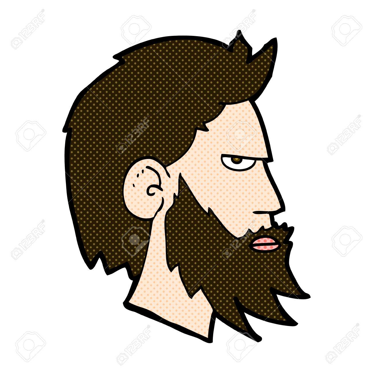 Vettoriale retrò stile fumetto cartone animato uomo con la barba