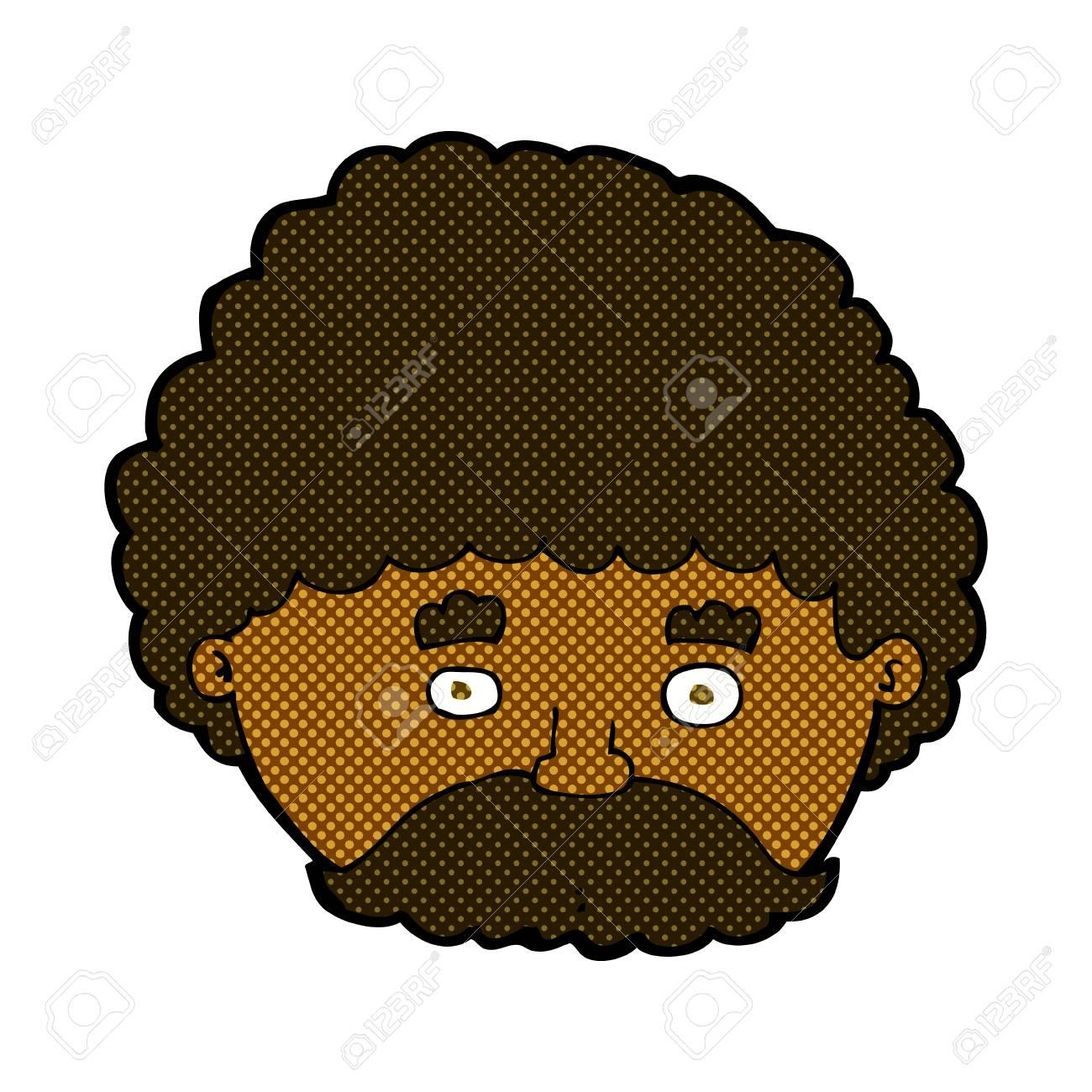 Vettoriale retrò stile fumetto cartone animato uomo con i baffi