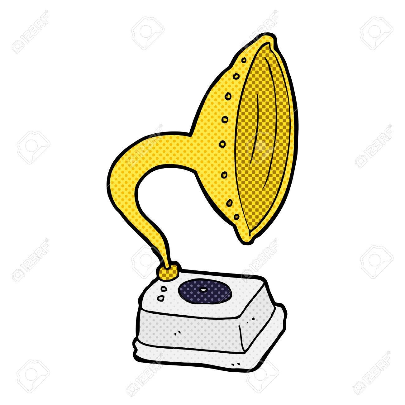 Retro Comic Book Style Cartoon Phonograph Royalty Free Cliparts ...