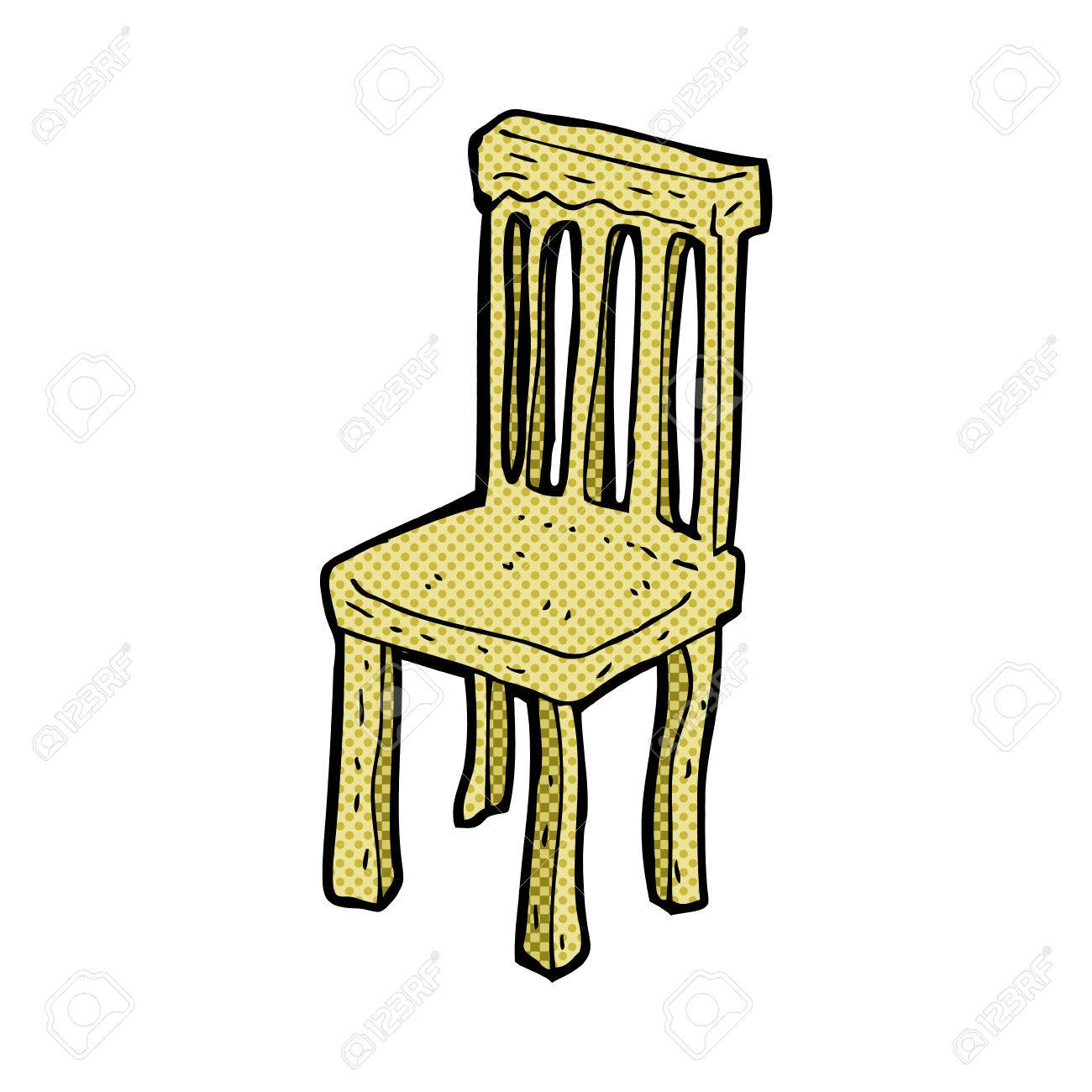 Retro Comic Book Style Cartoon Old Wooden Chair