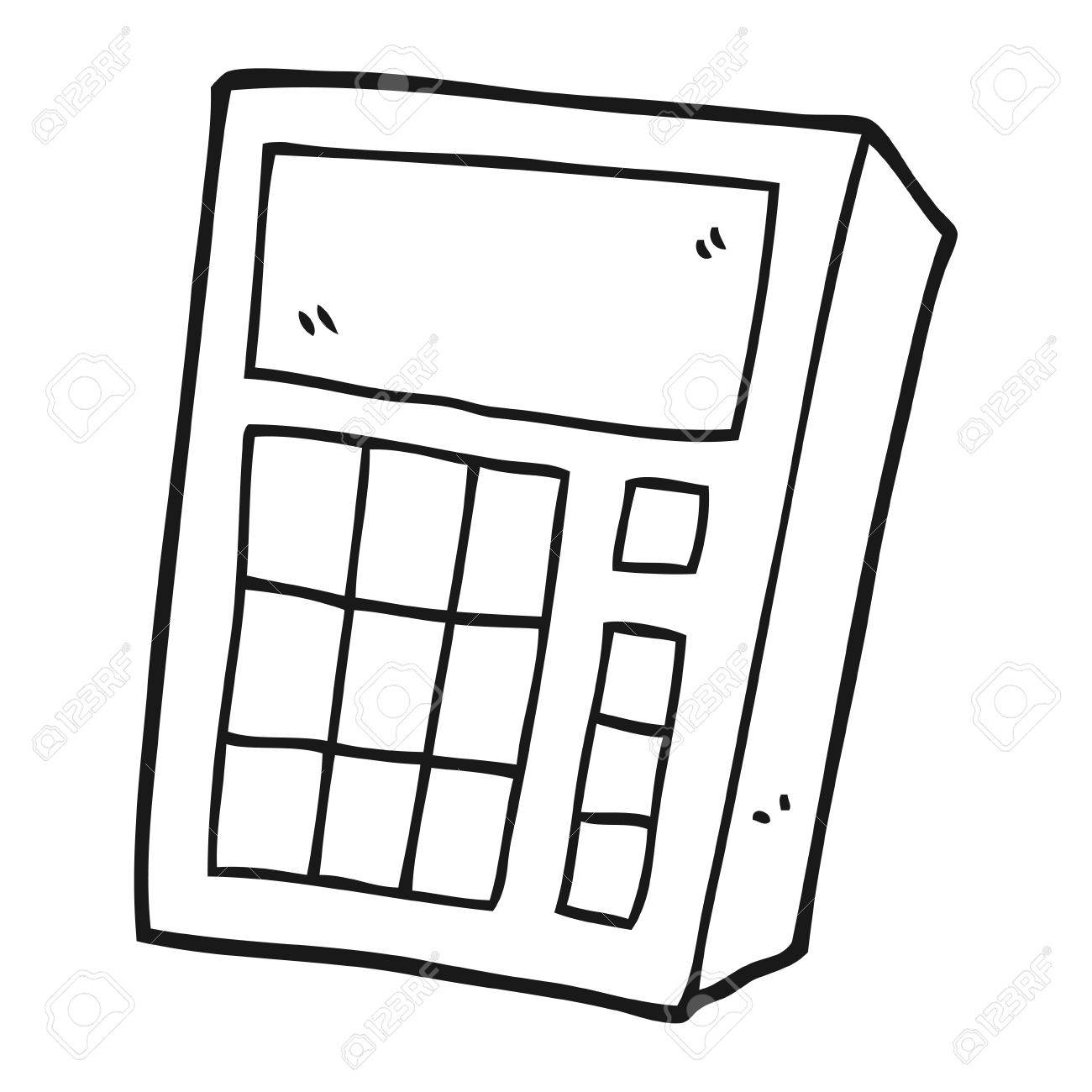 Freehand Drawn Black And White Cartoon Calculator Royalty Free