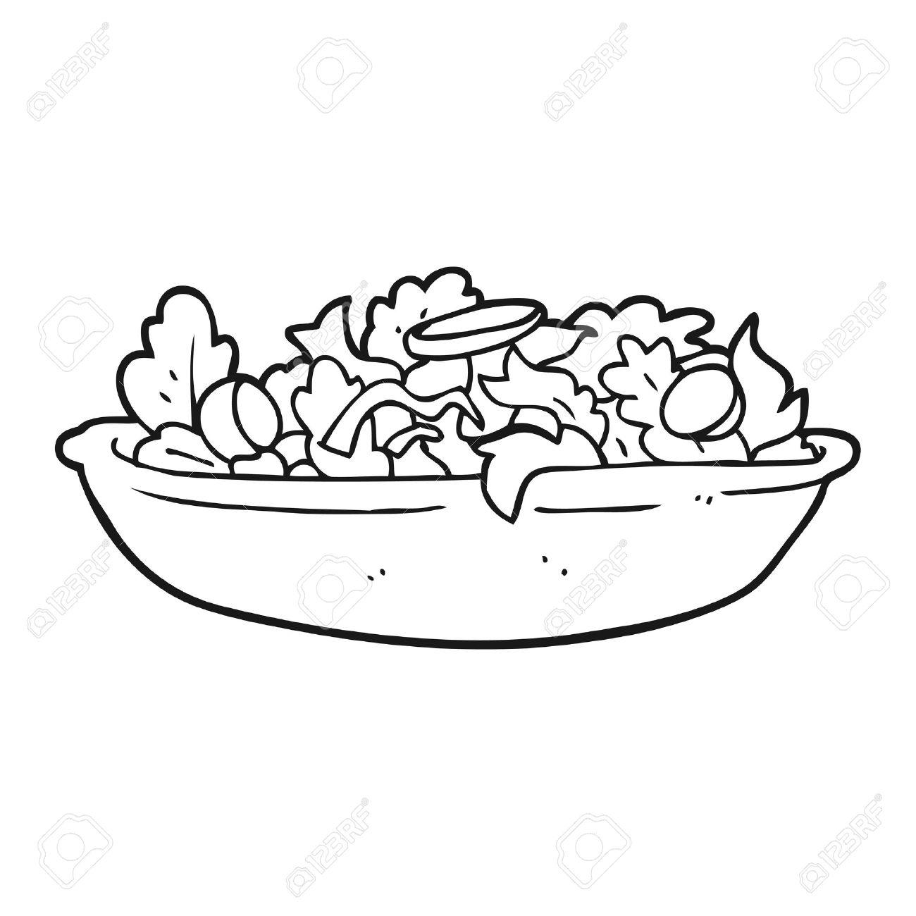 freehand drawn black and white cartoon salad - 53102373