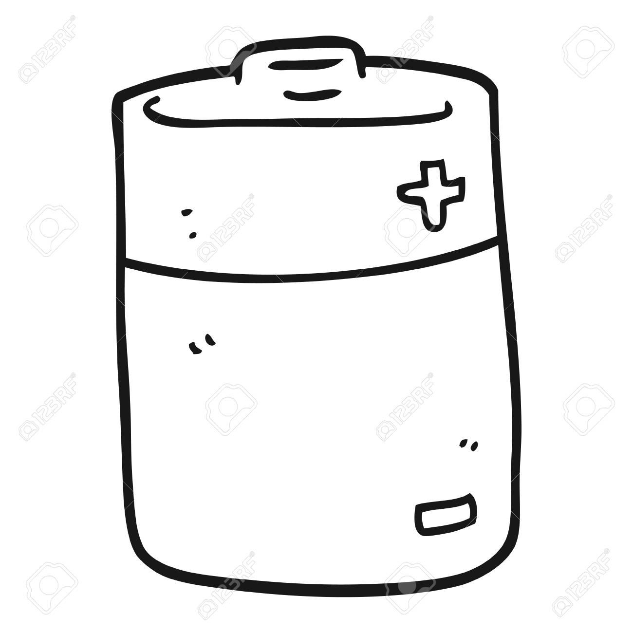 Dibujado A Mano Alzada De La Batería En Blanco Y Negro De Dibujos Animados
