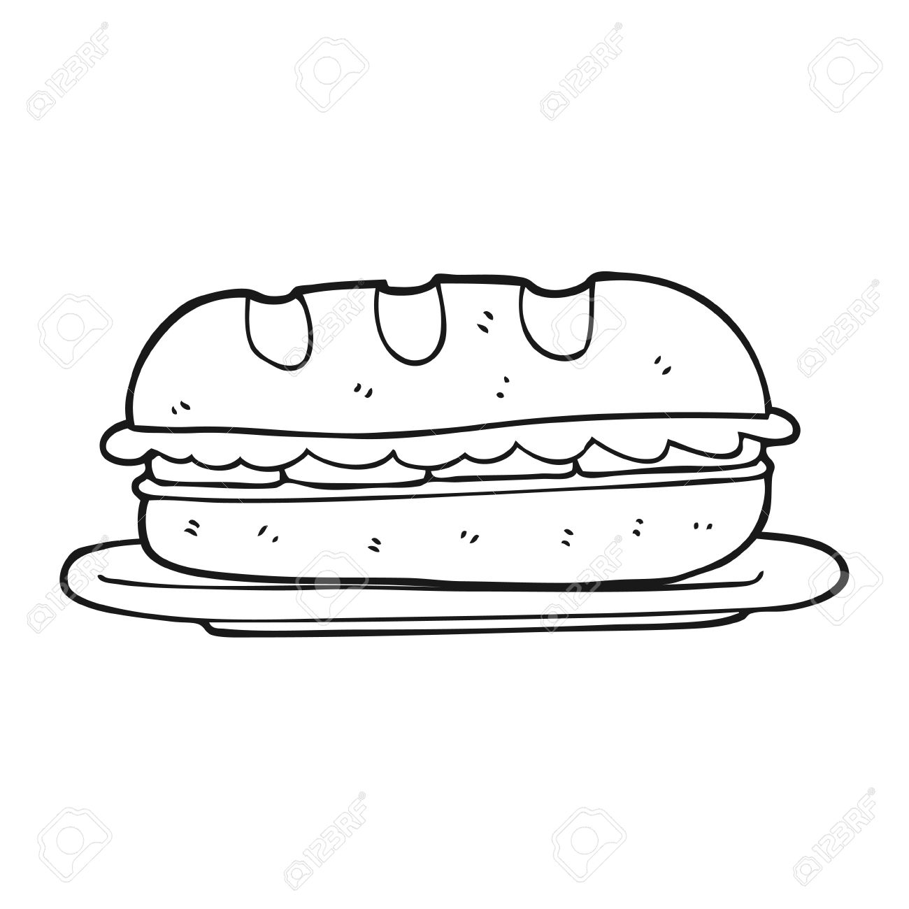freehand drawn black and white cartoon sub sandwich royalty free cliparts vectors and stock illustration image 53102682 freehand drawn black and white cartoon sub sandwich