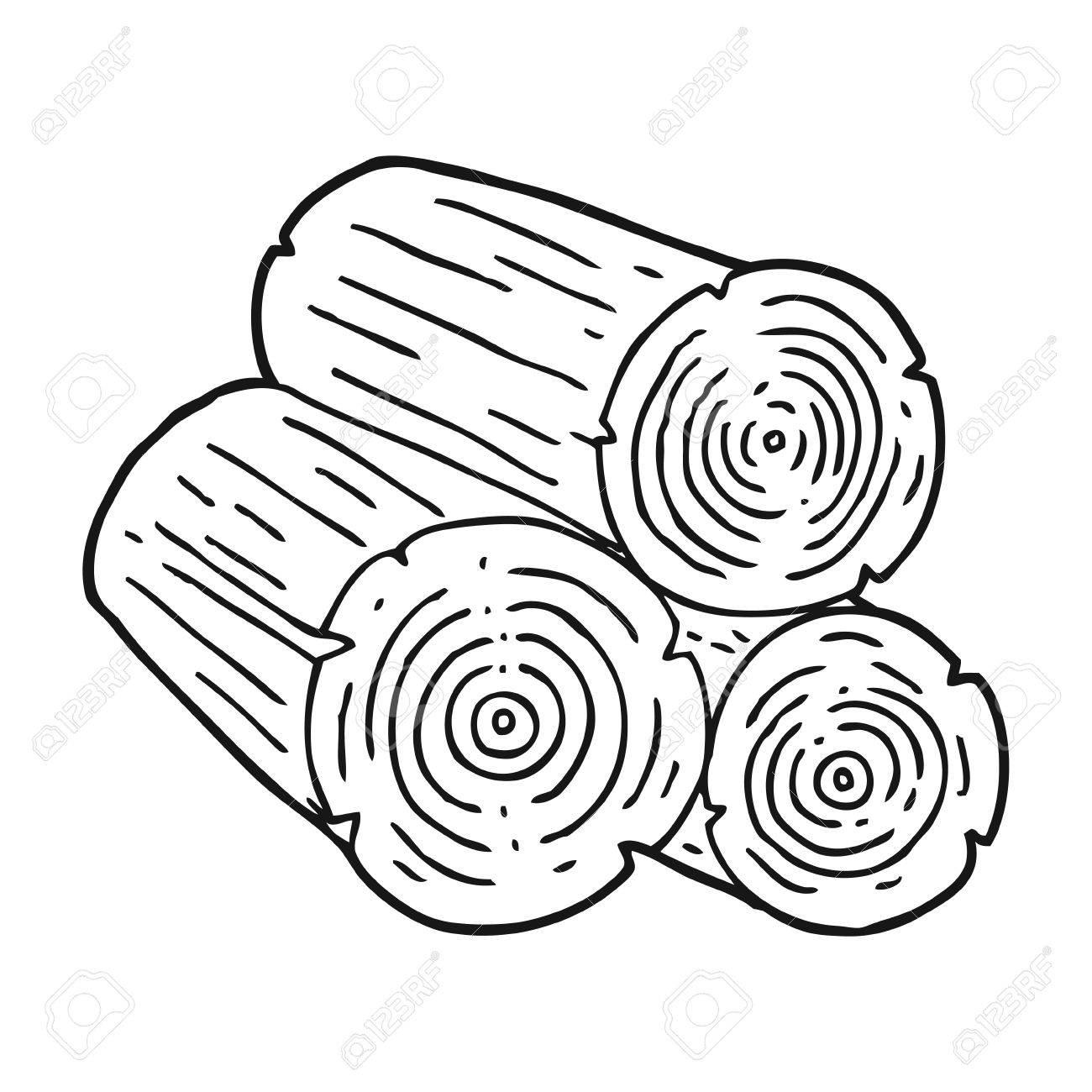 freehand drawn black and white cartoon logs - 53108251