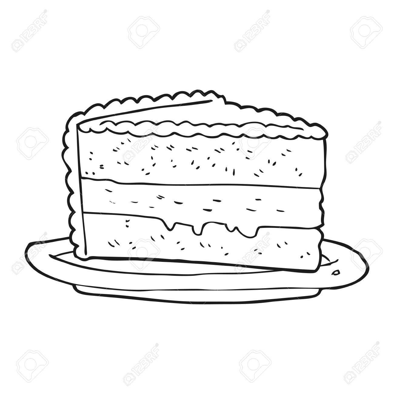 Freihand Gezeichnete Schwarz Weiss Cartoon Kuchen Lizenzfrei Nutzbare