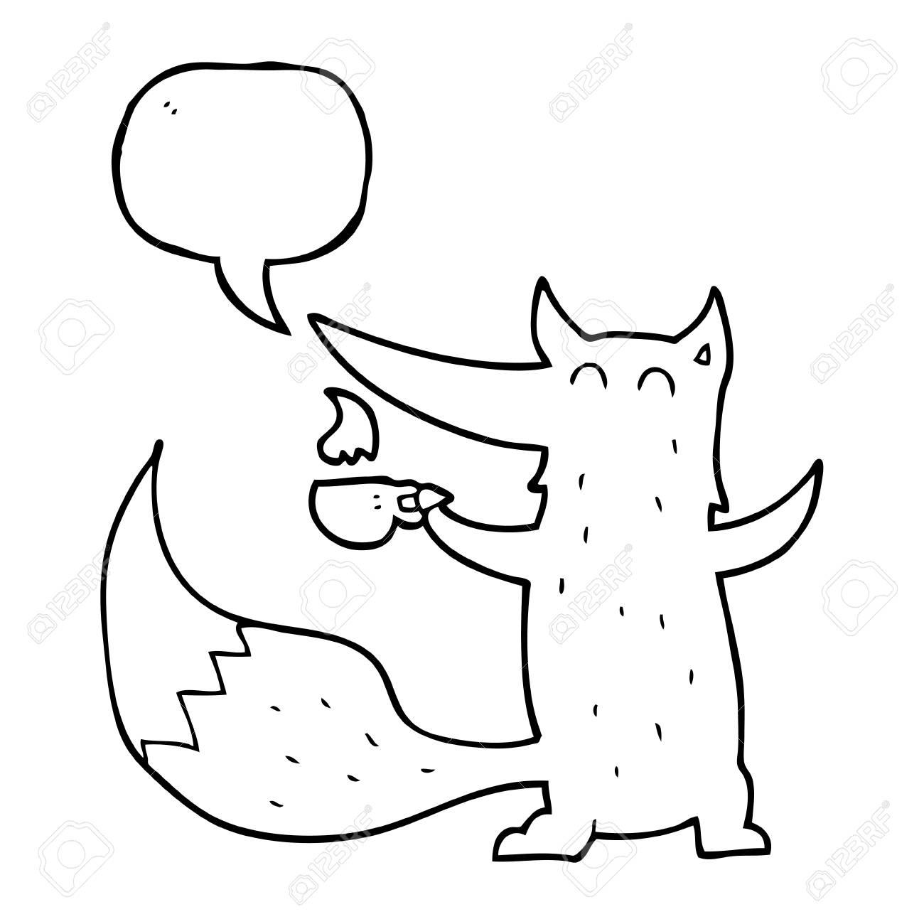 Freihändig Gezeichnet Sprechblase Cartoon Wolf Mit Kaffeetasse
