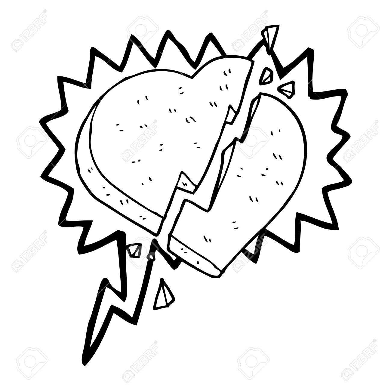 Freehand Drawn Speech Bubble Cartoon Broken Heart Symbol Royalty