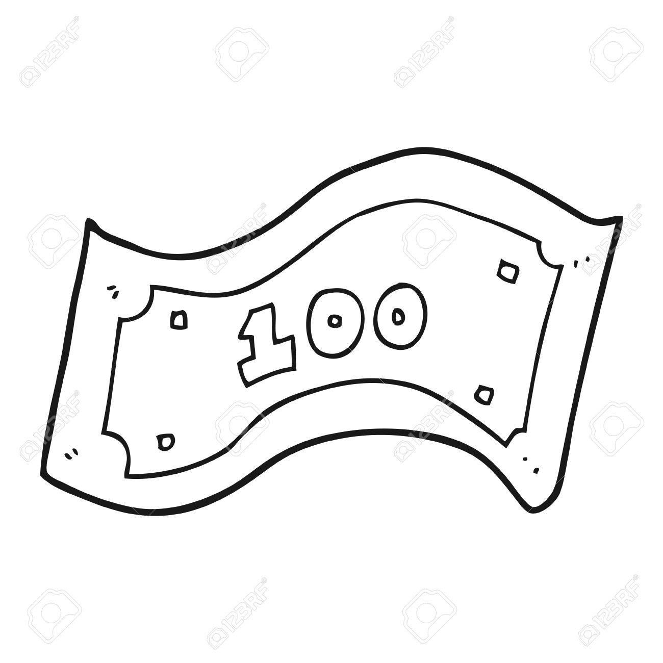 freehand drawn black and white cartoon 100 dollar bill royalty free rh 123rf com  100 dollar bill vector download