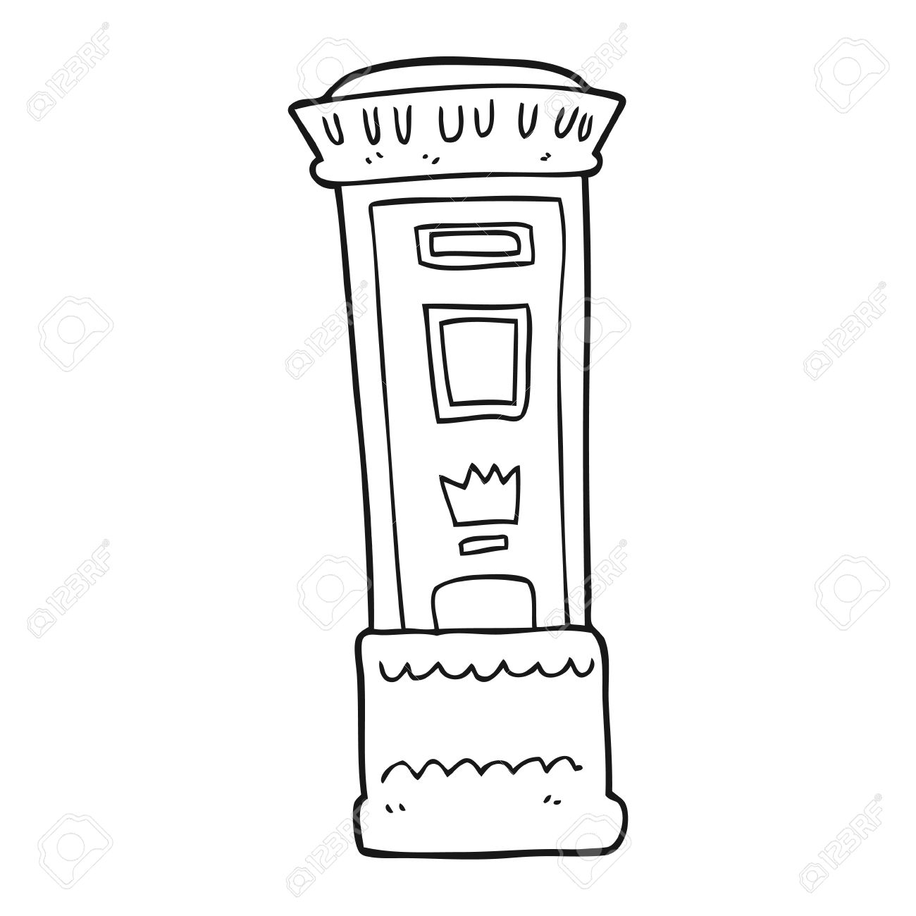 freehand drawn black and white cartoon british post box royalty free