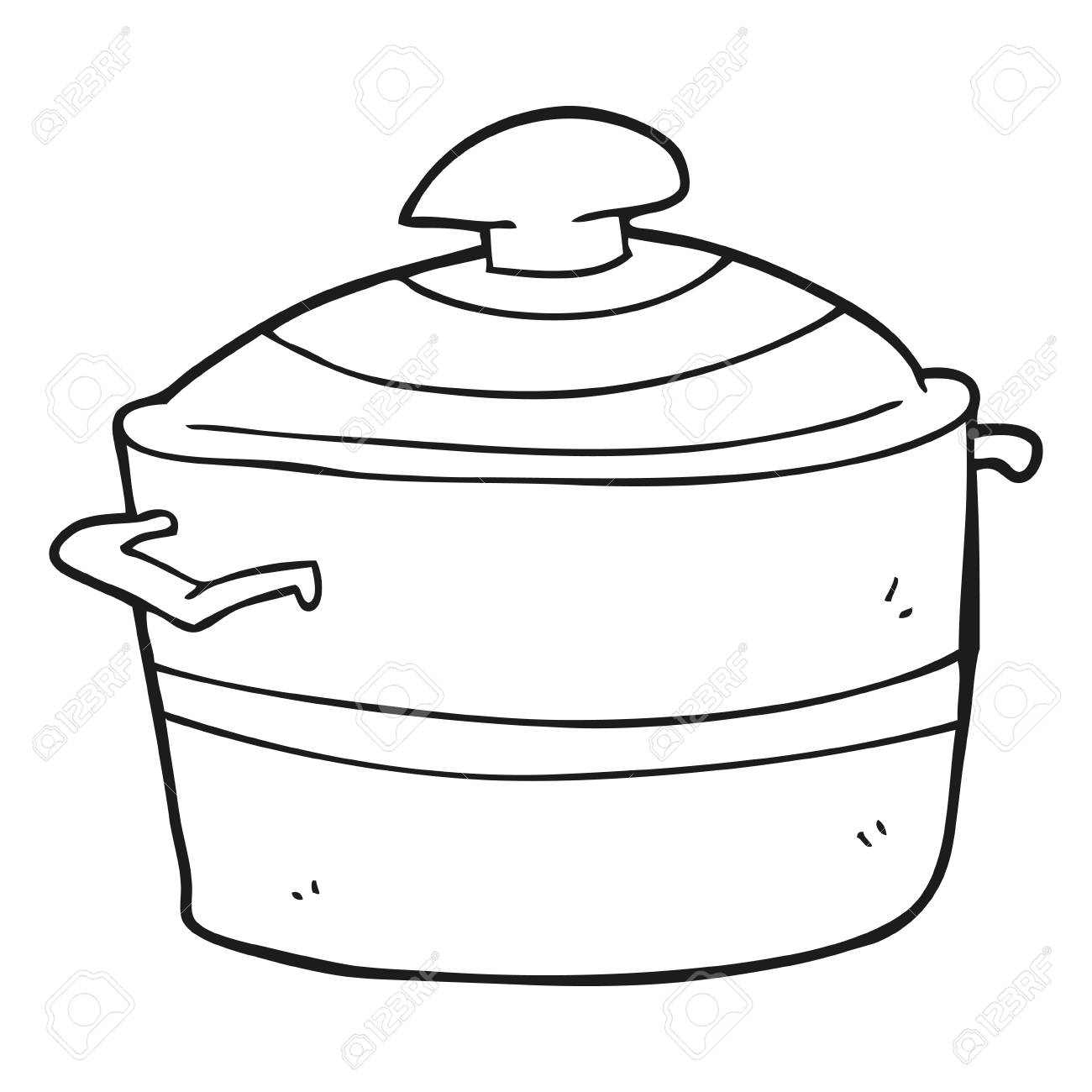 Freehand Drawn Black And White Cartoon Cooking Pot Royalty Free Cliparts Vectors And Stock Illustration Image 53192952