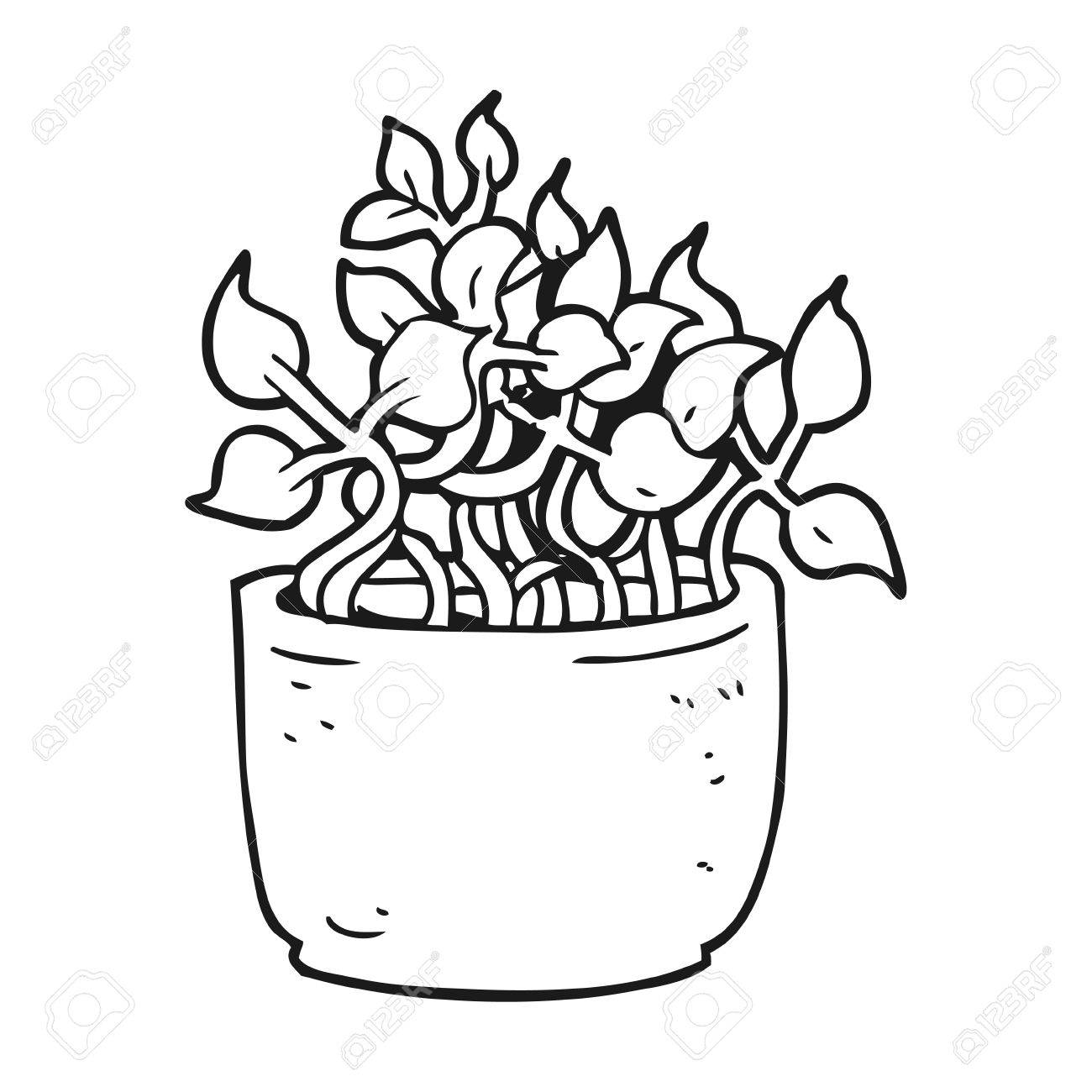freehand drawn black and white cartoon house plant royalty free Black and White Cartoon Tree freehand drawn black and white cartoon house plant stock vector 53194970