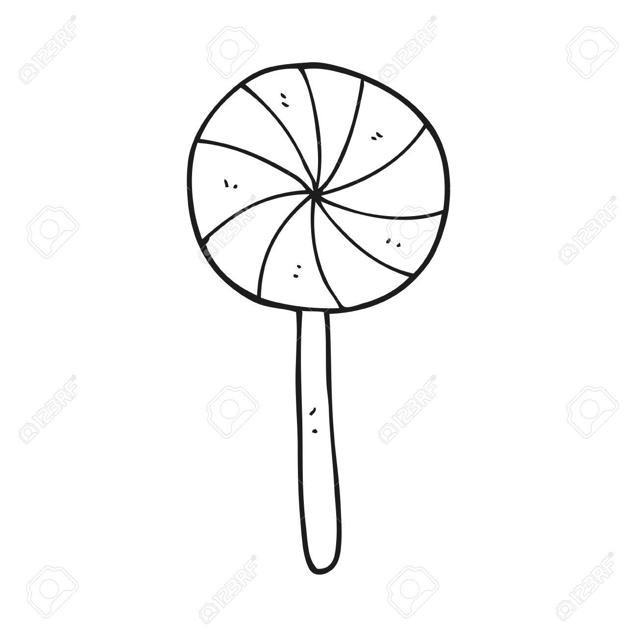 freehand drawn black and white cartoon candy lollipop royalty free