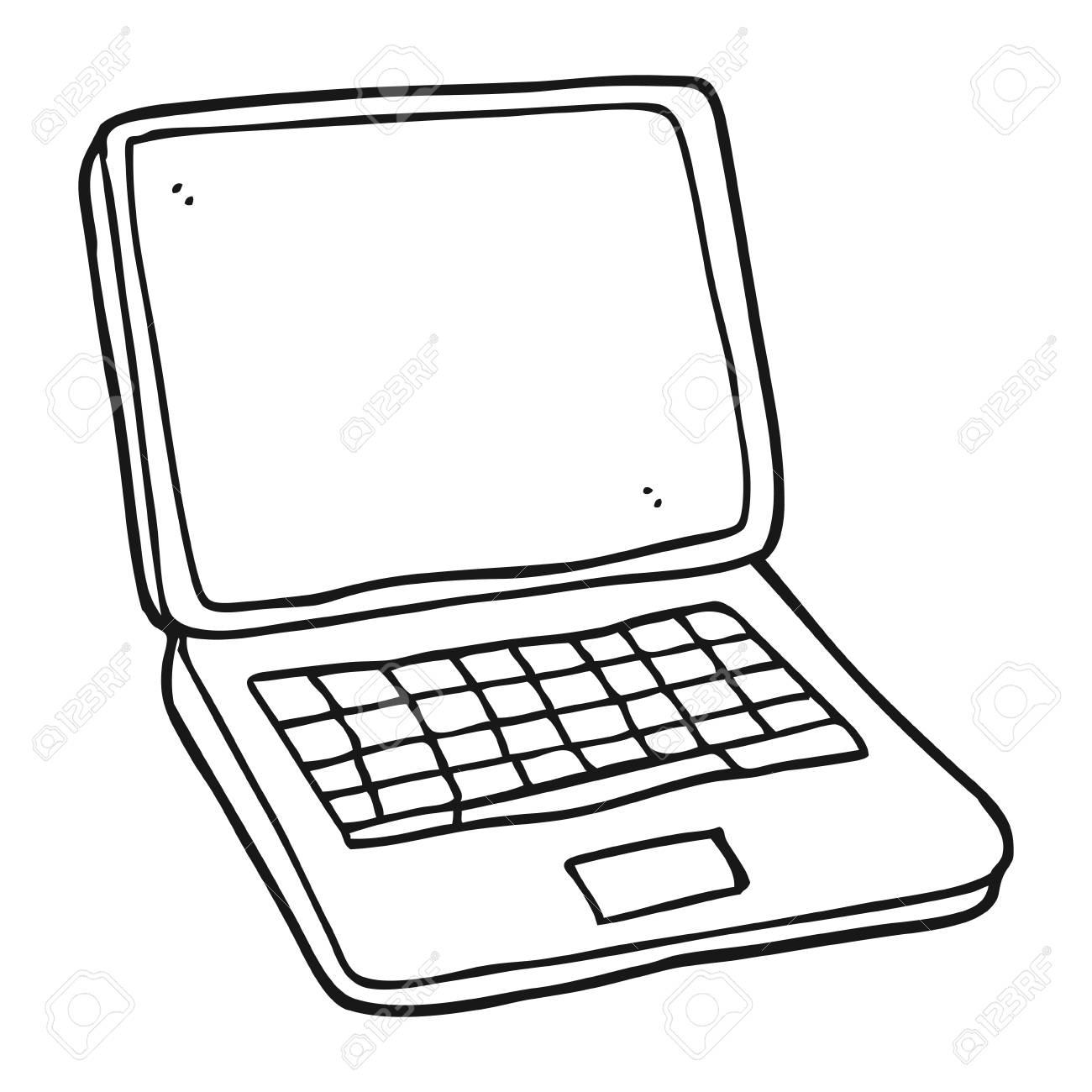 Dibujado A Mano Alzada De La Computadora Portátil De Dibujos ...