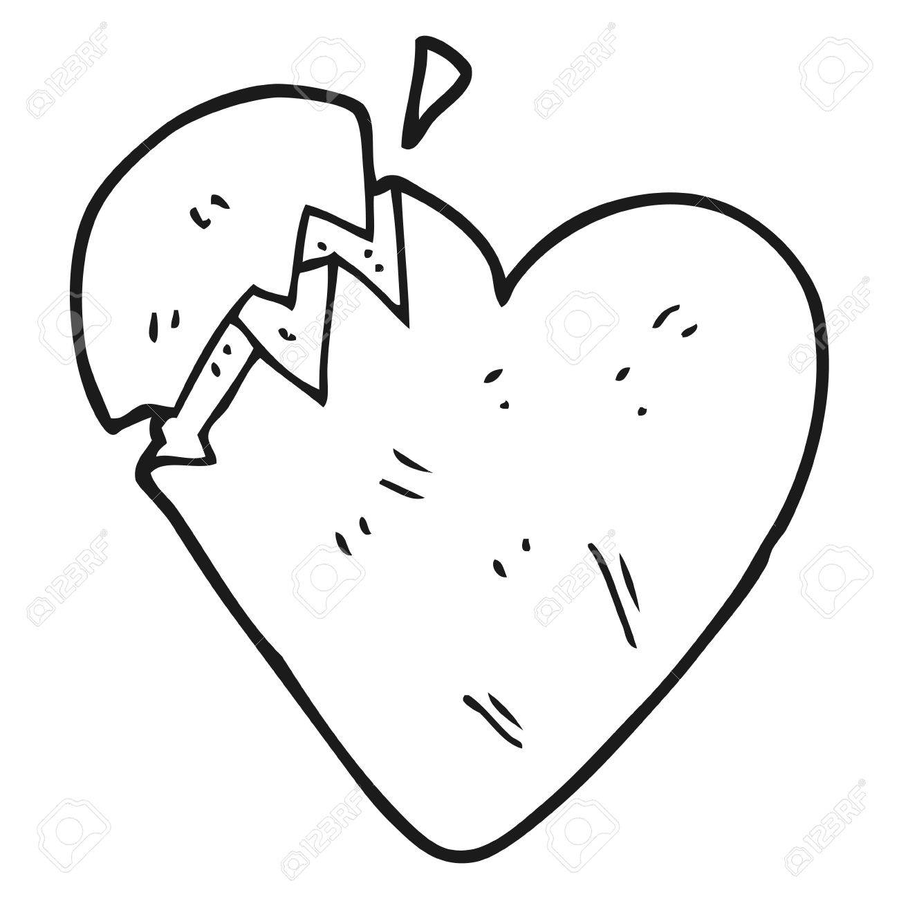 Dibujado A Mano Alzada Corazón Roto De Dibujos Animados En Blanco Y