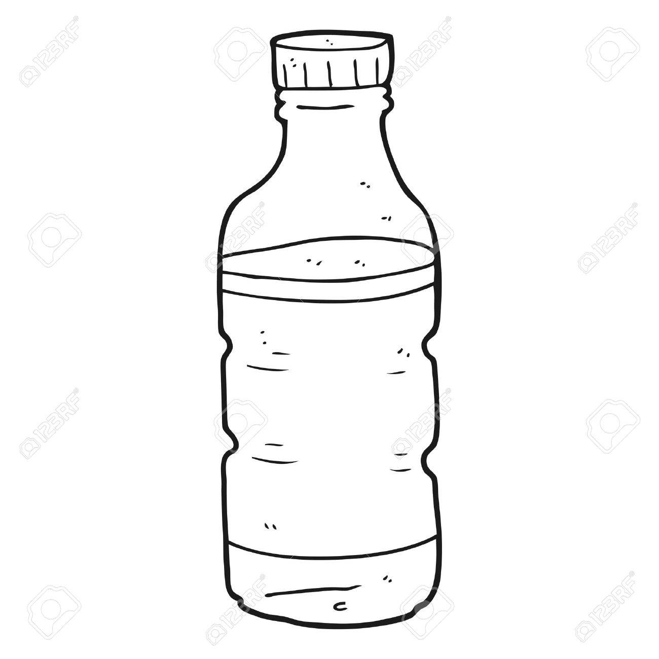 freehand drawn black and white cartoon water bottle royalty free