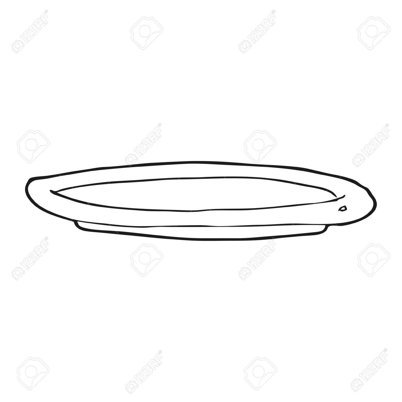 Freehand Drawn Black And White Cartoon Empty Plate Royalty Free