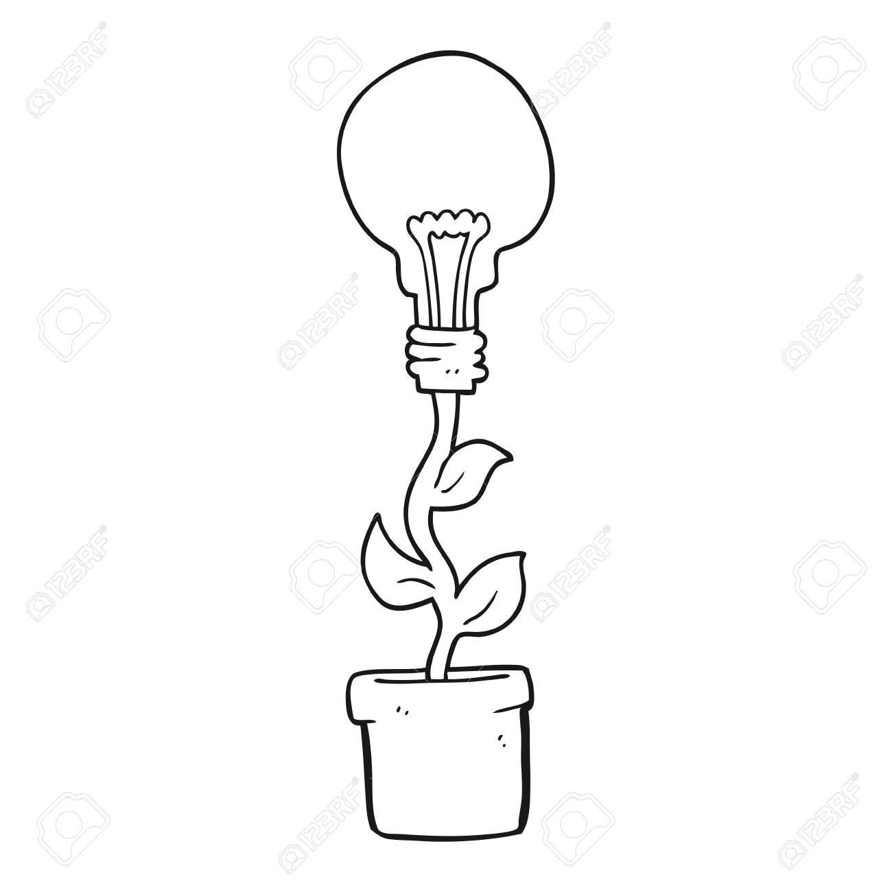 Freehand Drawn Black And White Cartoon Light Bulb Plant Royalty Free