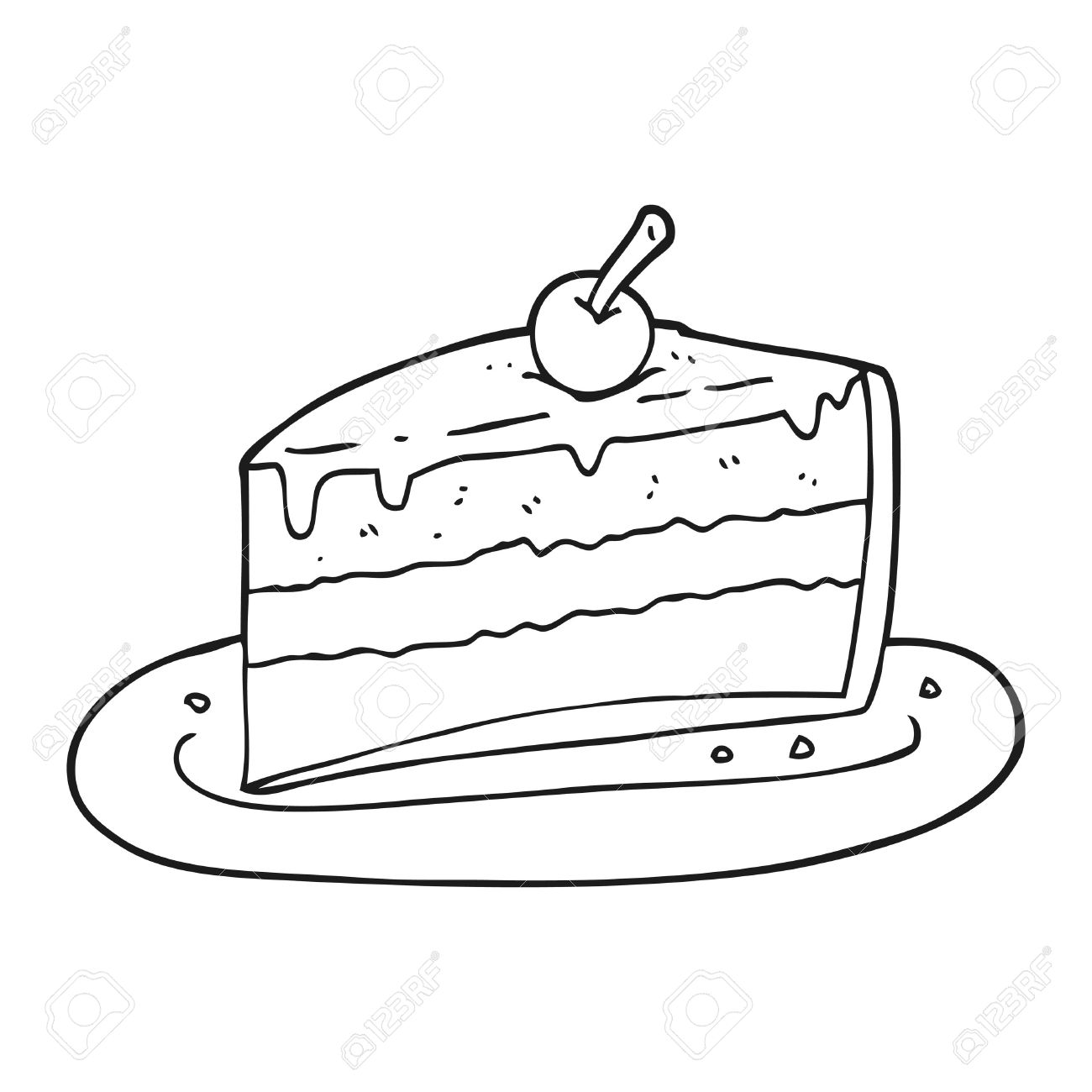 Freihändig Gezeichnet Schwarz Und Weiß Cartoon Stück Kuchen ...