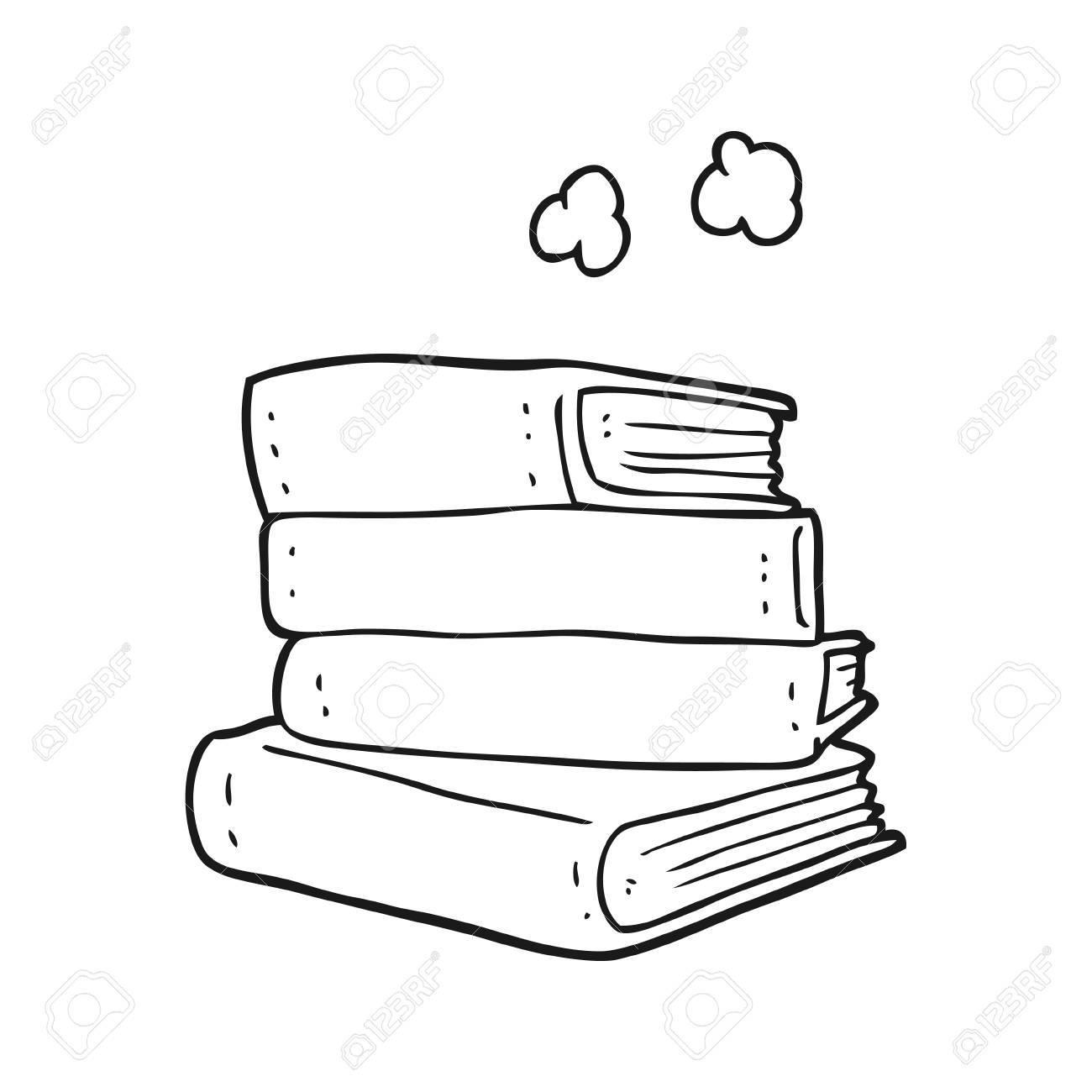 Banque dimages main levée dessin animé noir et blanc pile de livres