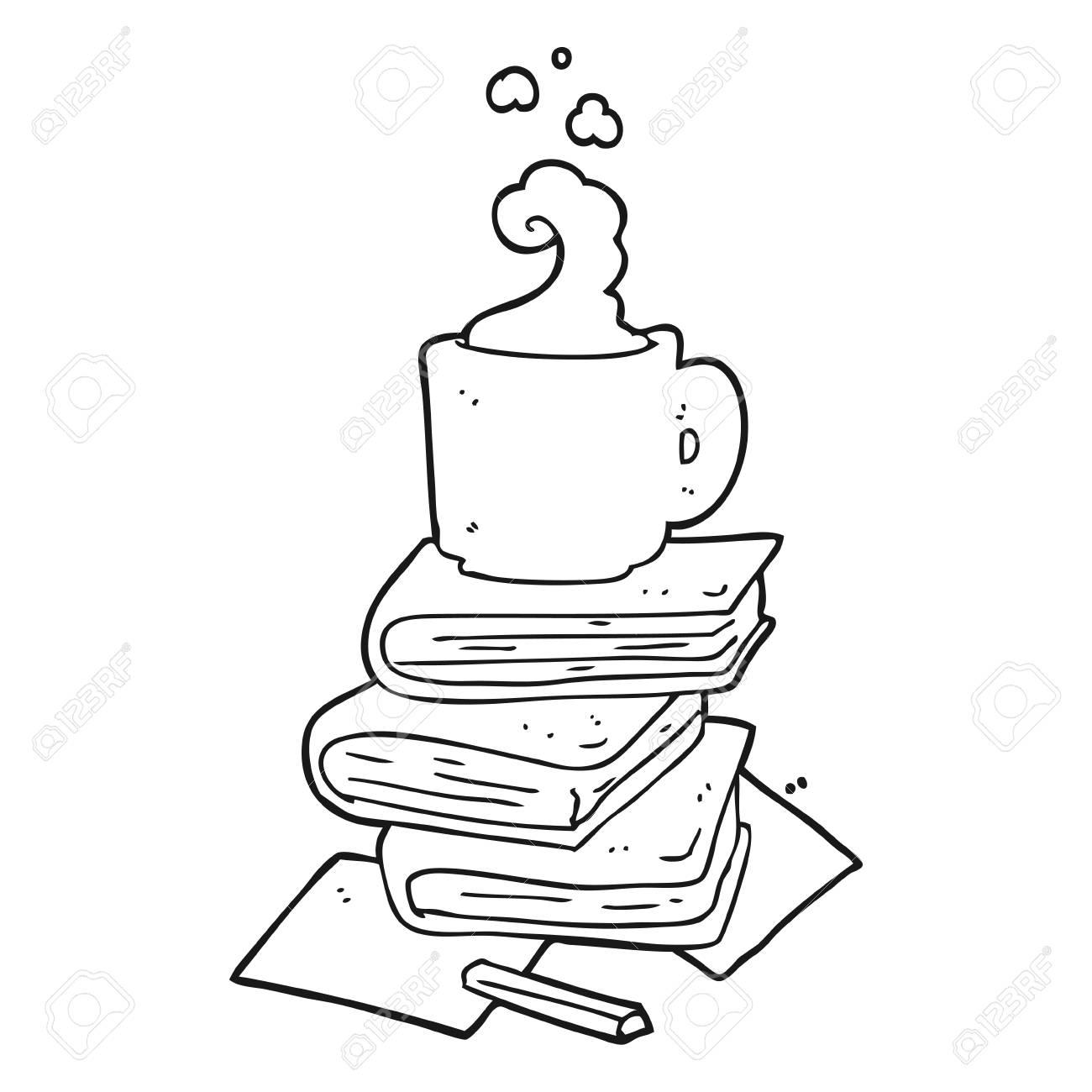 Dibujado A Mano Alzada Libros De Dibujos Animados En Blanco Y Negro Y Una Taza De Café Ilustraciones Vectoriales Clip Art Vectorizado Libre De Derechos Image 53214891