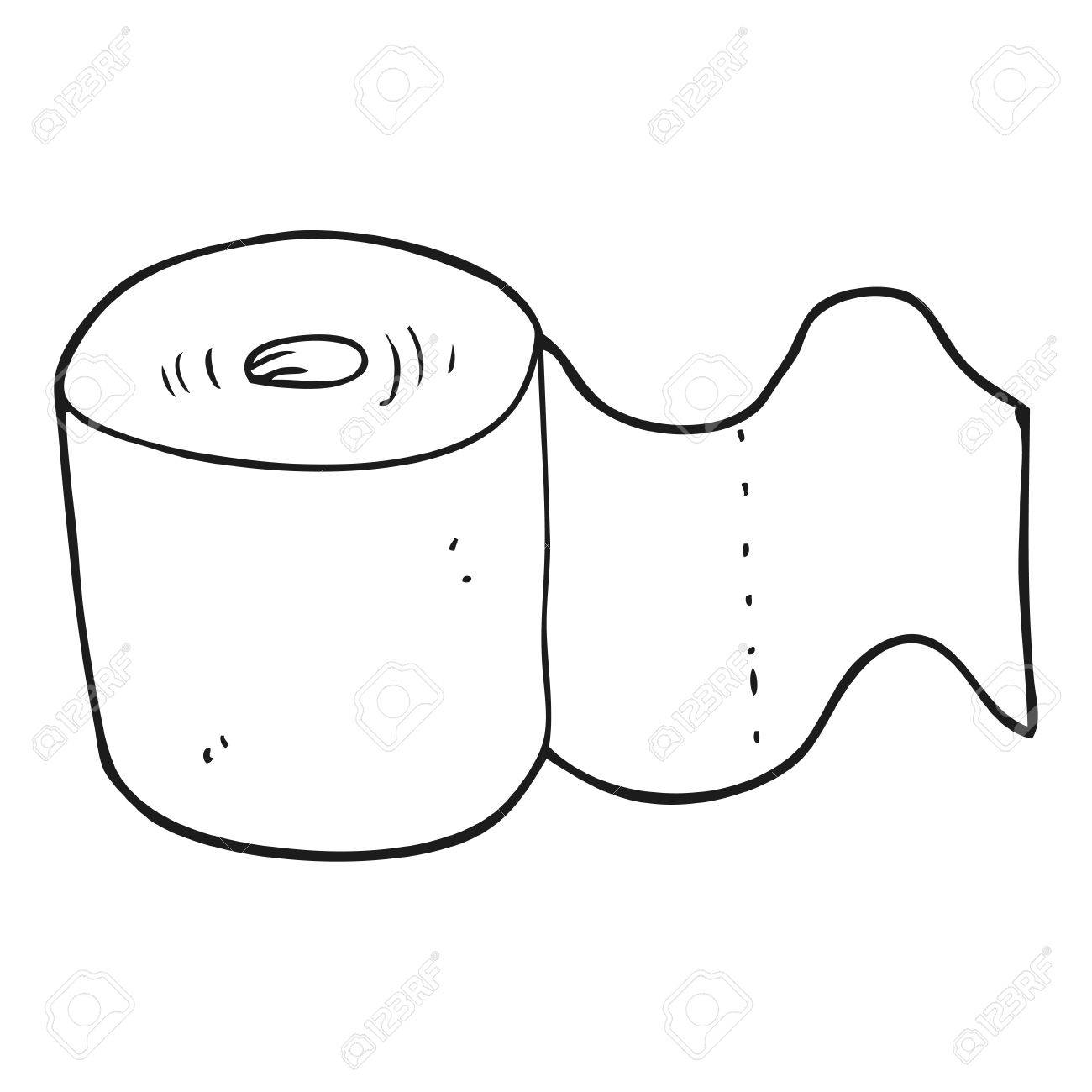 Dibujado A Mano Alzada Rollo De Papel Higiénico De Dibujos Animados En Blanco Y Negro