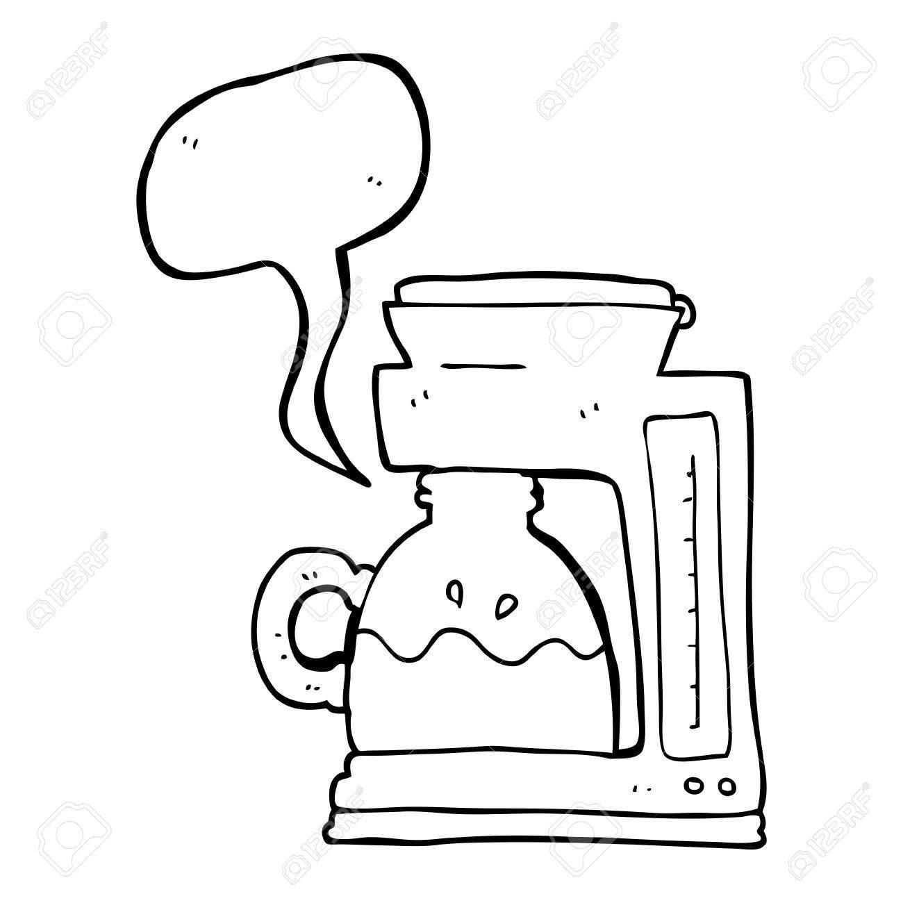 Freehand Drawn Speech Bubble Cartoon Coffee Filter Machine Stock Vector