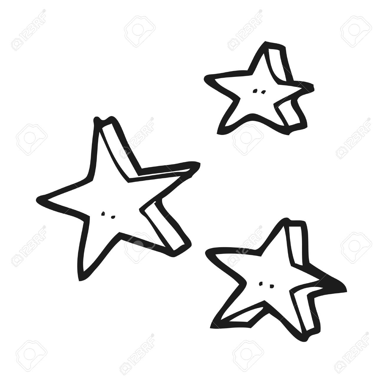 Freehand drawn black and white cartoon decorative doodle stars