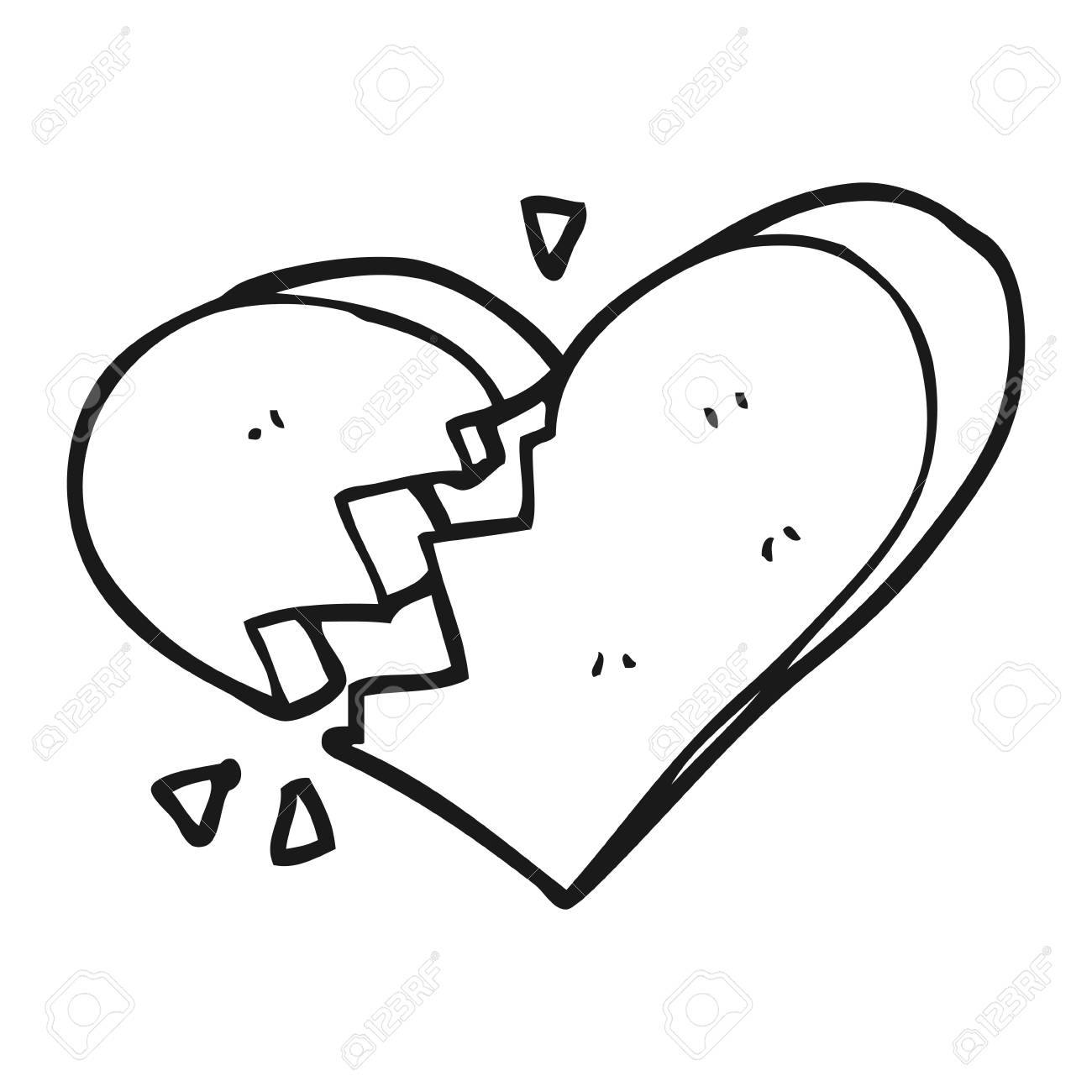 Dibujado A Mano Alzada Corazón Roto De Dibujos Animados En Blanco Y ...