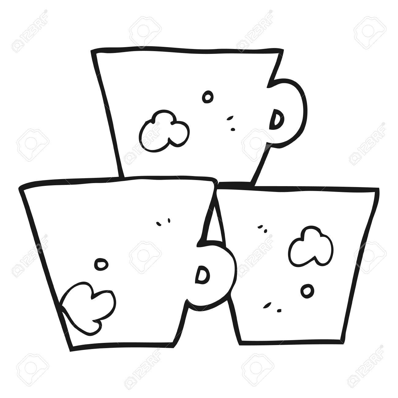 Dibujado A Mano Alzada Blanco Y Negro Pila De Dibujos Animados De ...