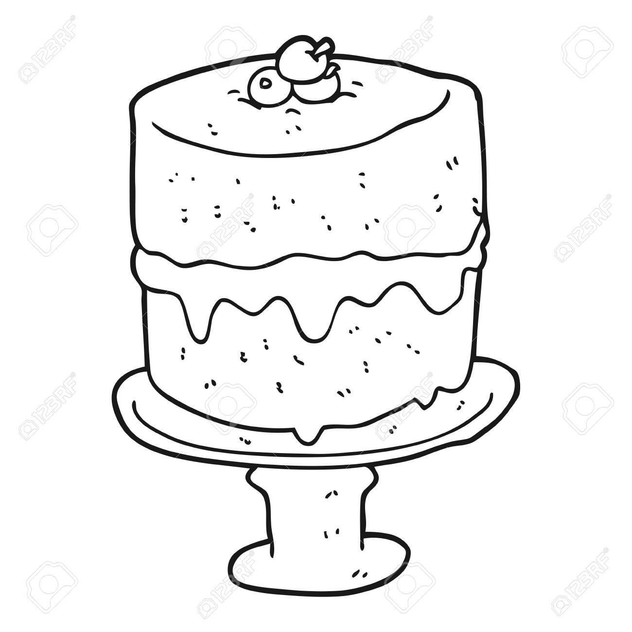 Freihand Gezeichnete Schwarz-weiß Cartoon Kuchen Lizenzfrei Nutzbare ...
