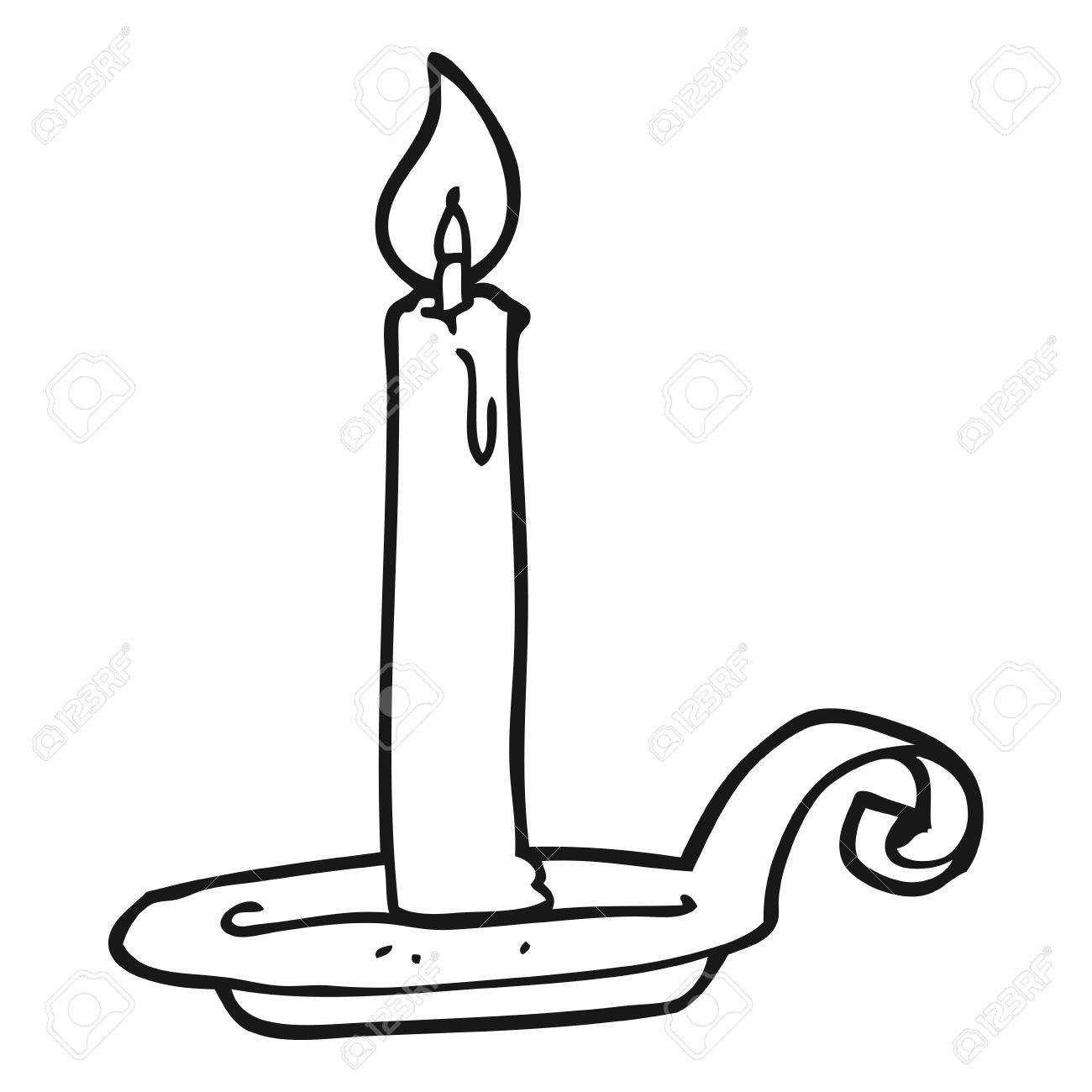 Freehand Drawn Black And White Cartoon Candle Burning Royalty Free ... for Candle Clip Art Black And White  585ifm