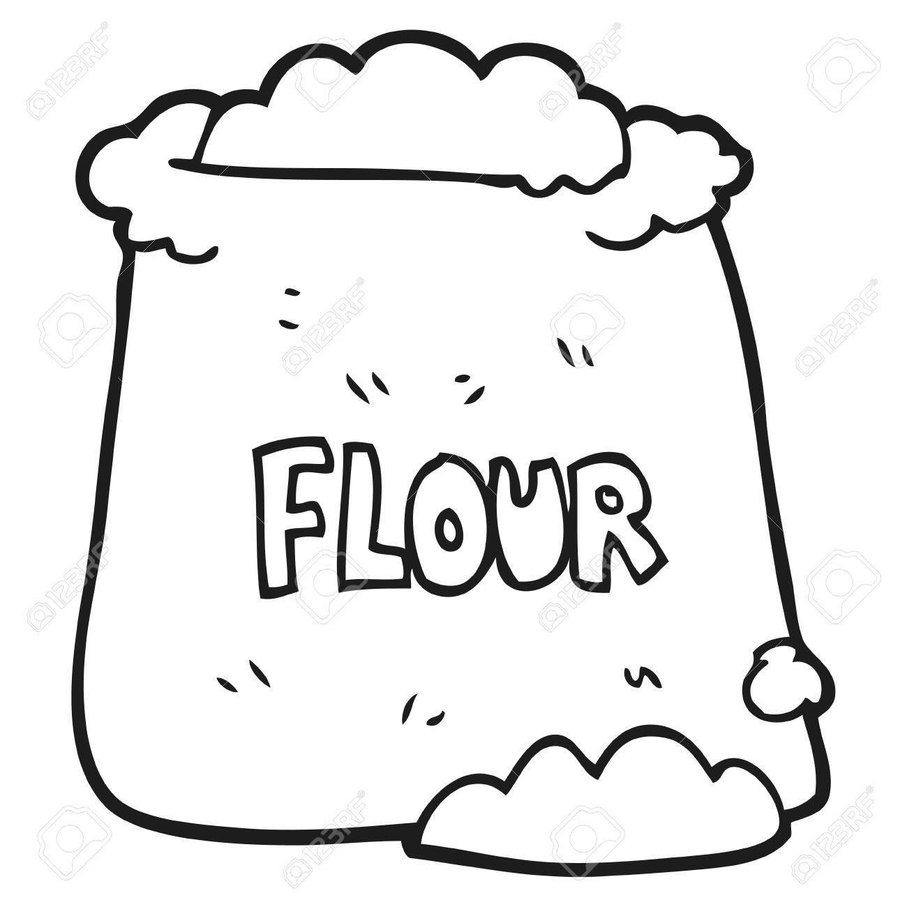 freehand drawn black and white cartoon bag of flour royalty free rh 123rf com free clipart hand washing free hand clipart black and white