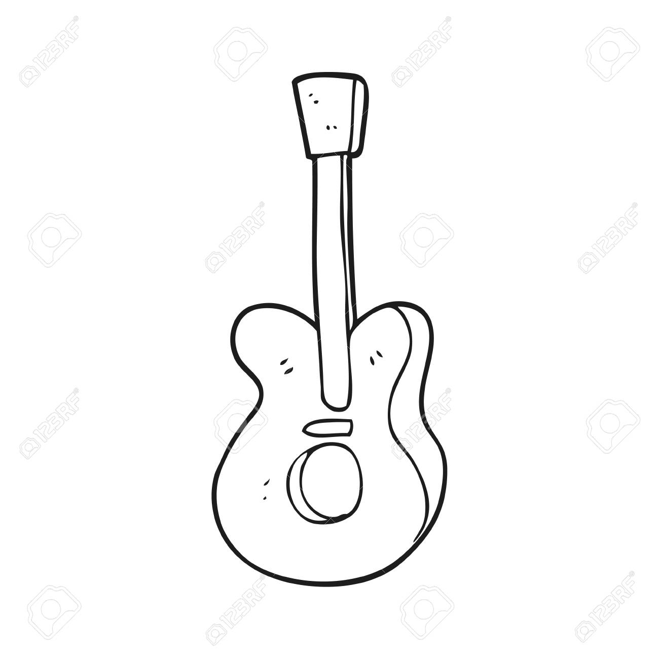 Freehand Drawn Black And White Cartoon Guitar Royalty Free Cliparts Vectors And Stock Illustration Image 53288980