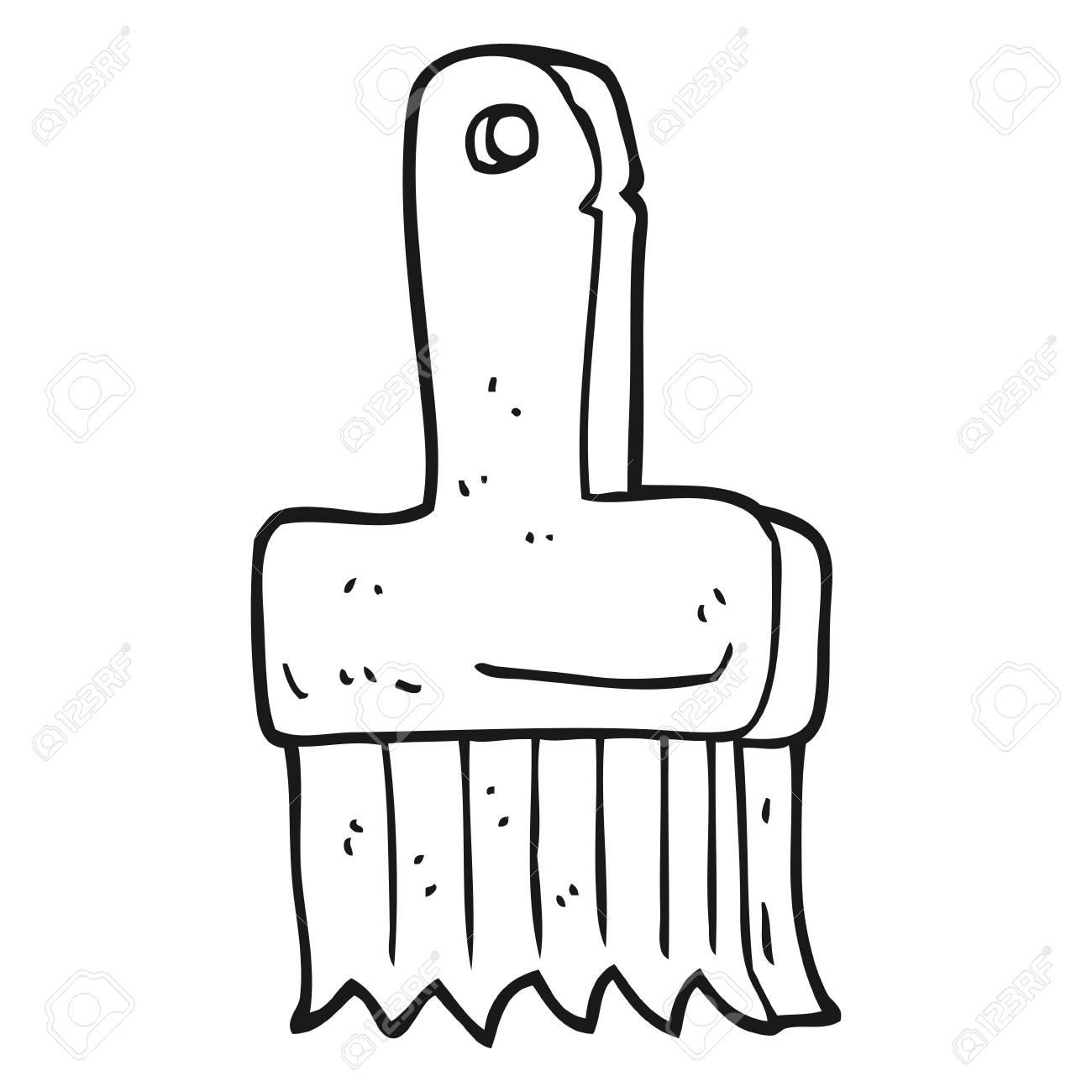 Pinsel clipart schwarz weiß  Freihand Gezeichnete Schwarz-Weiß-Cartoon Pinsel Lizenzfrei Nutzbare ...