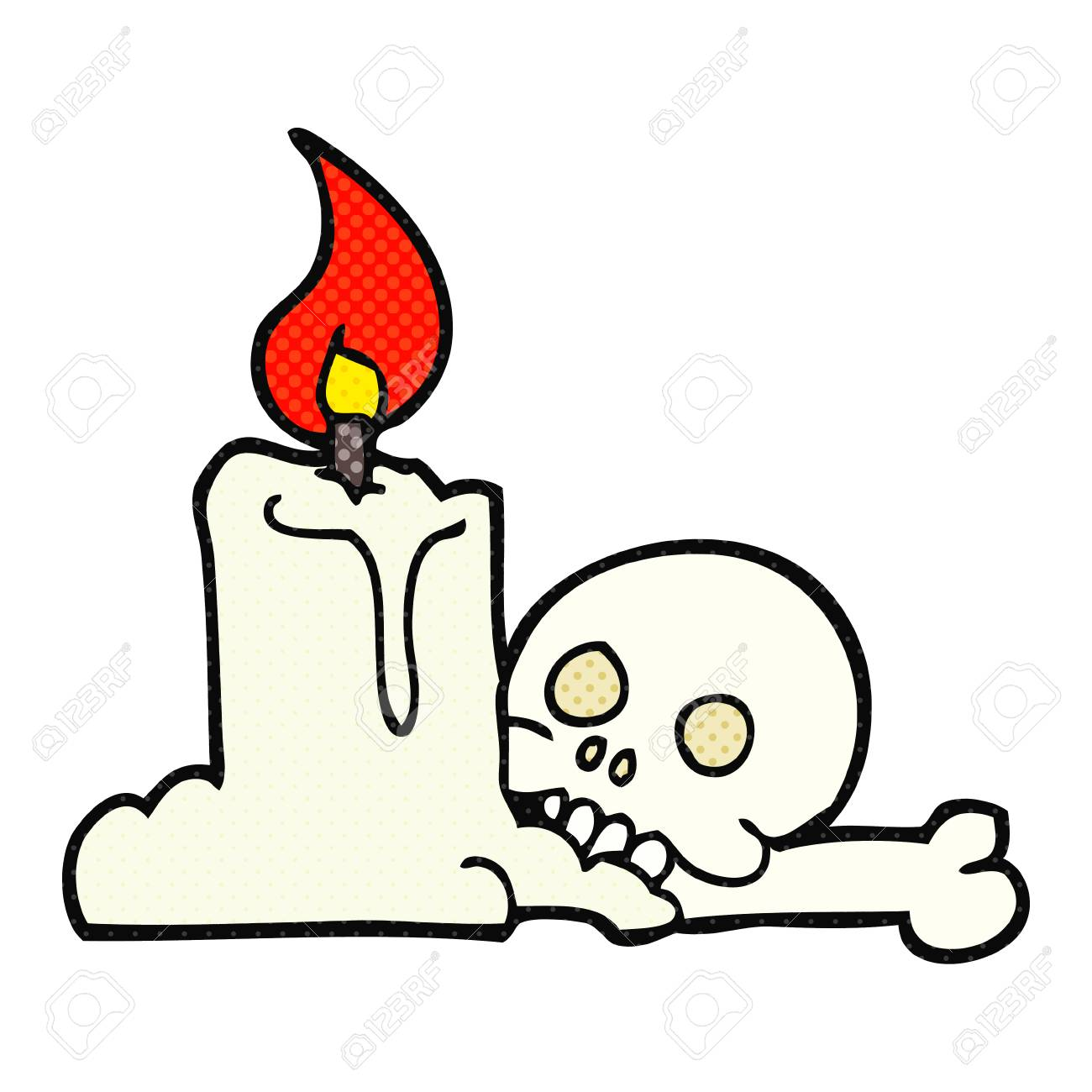freehand drawn cartoon spooky skull and candle royalty free cliparts rh 123rf com Skeleton Clip Art Ghost Clip Art