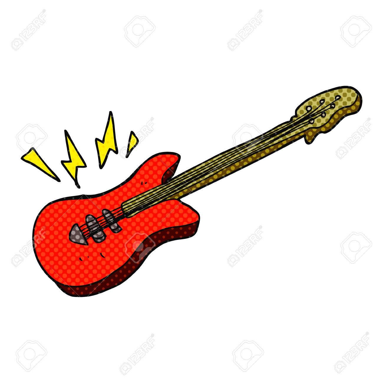 Freehand Drawn Cartoon Electric Guitar Royalty Free Cliparts