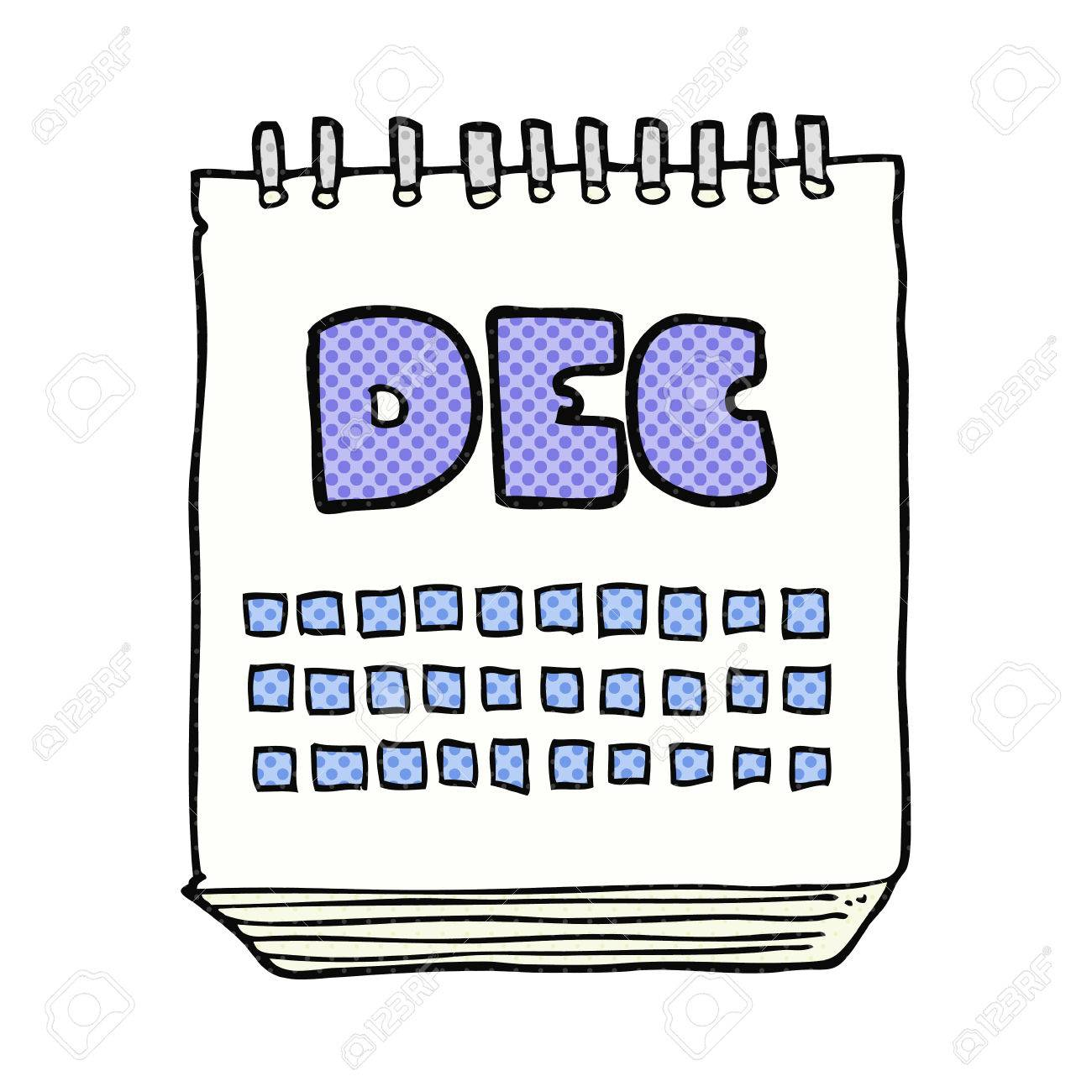 December Calendar Art : Freehand drawn cartoon calendar showing month of december royalty