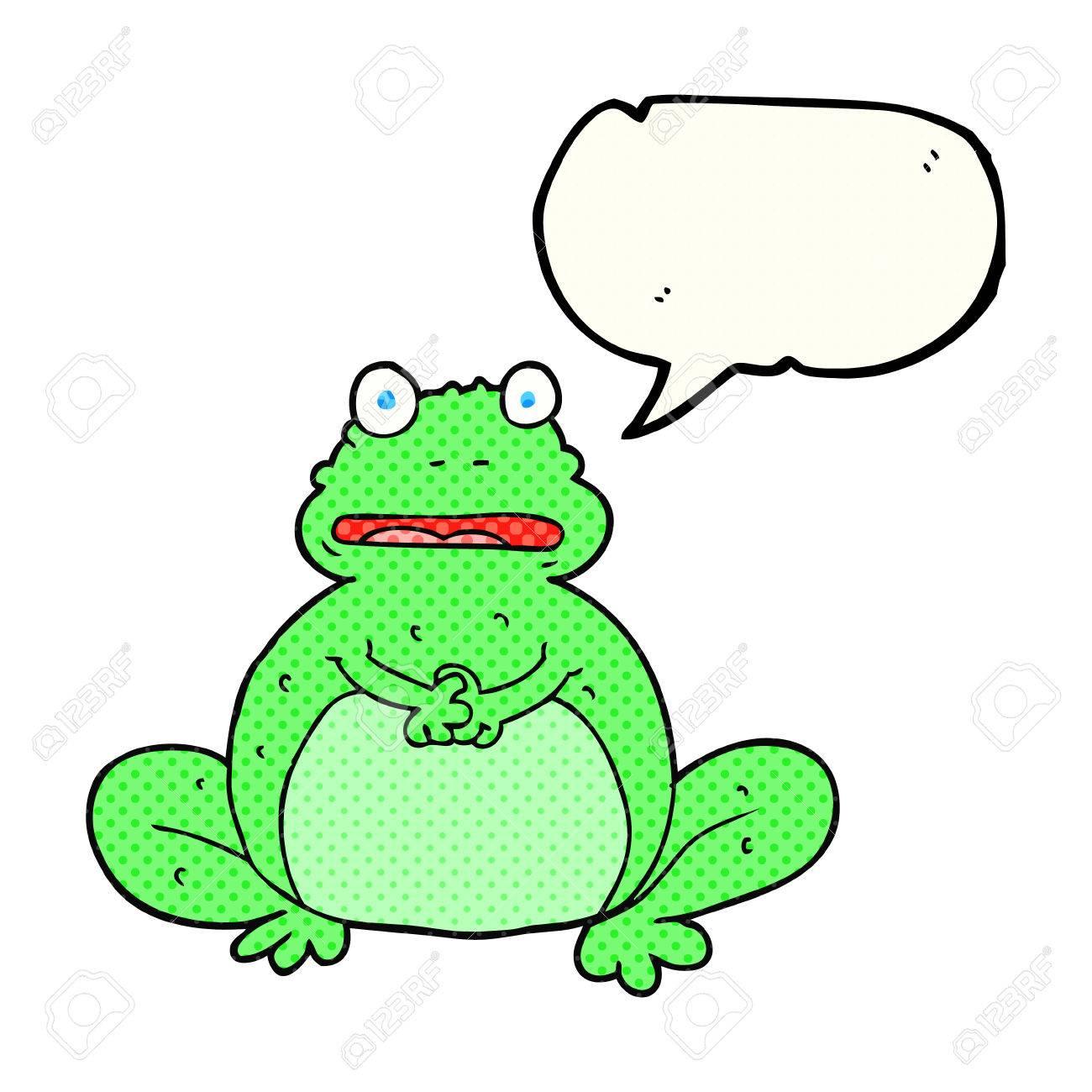 Freihändig Gezeichnet Comic Sprechblase Cartoon Frosch Lizenzfrei